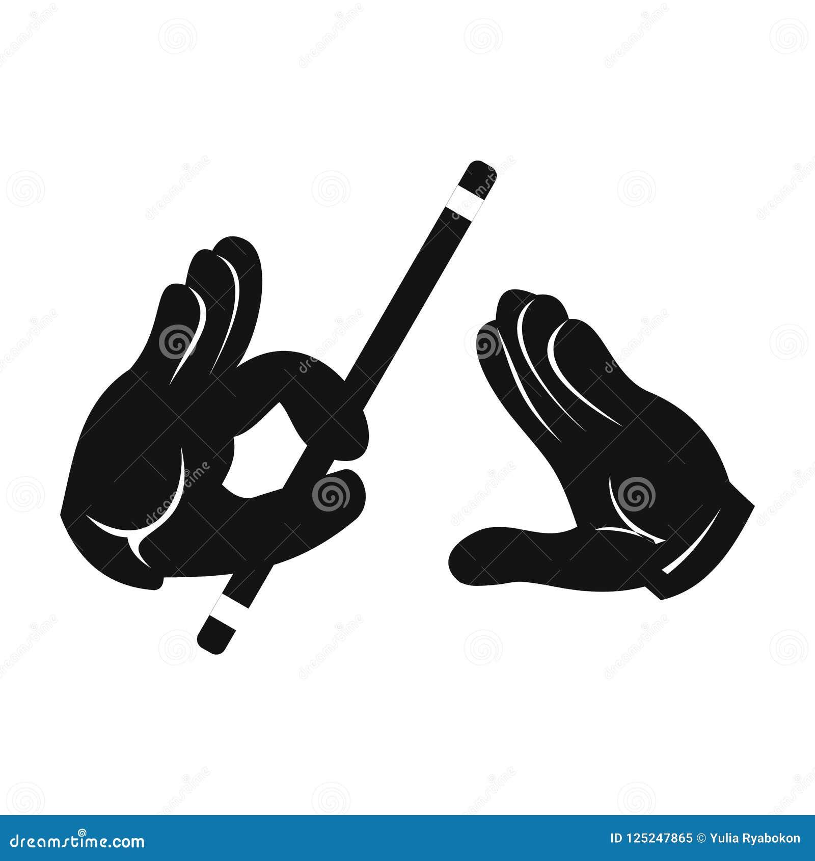 Mãos do mágico com ícone simples da vara