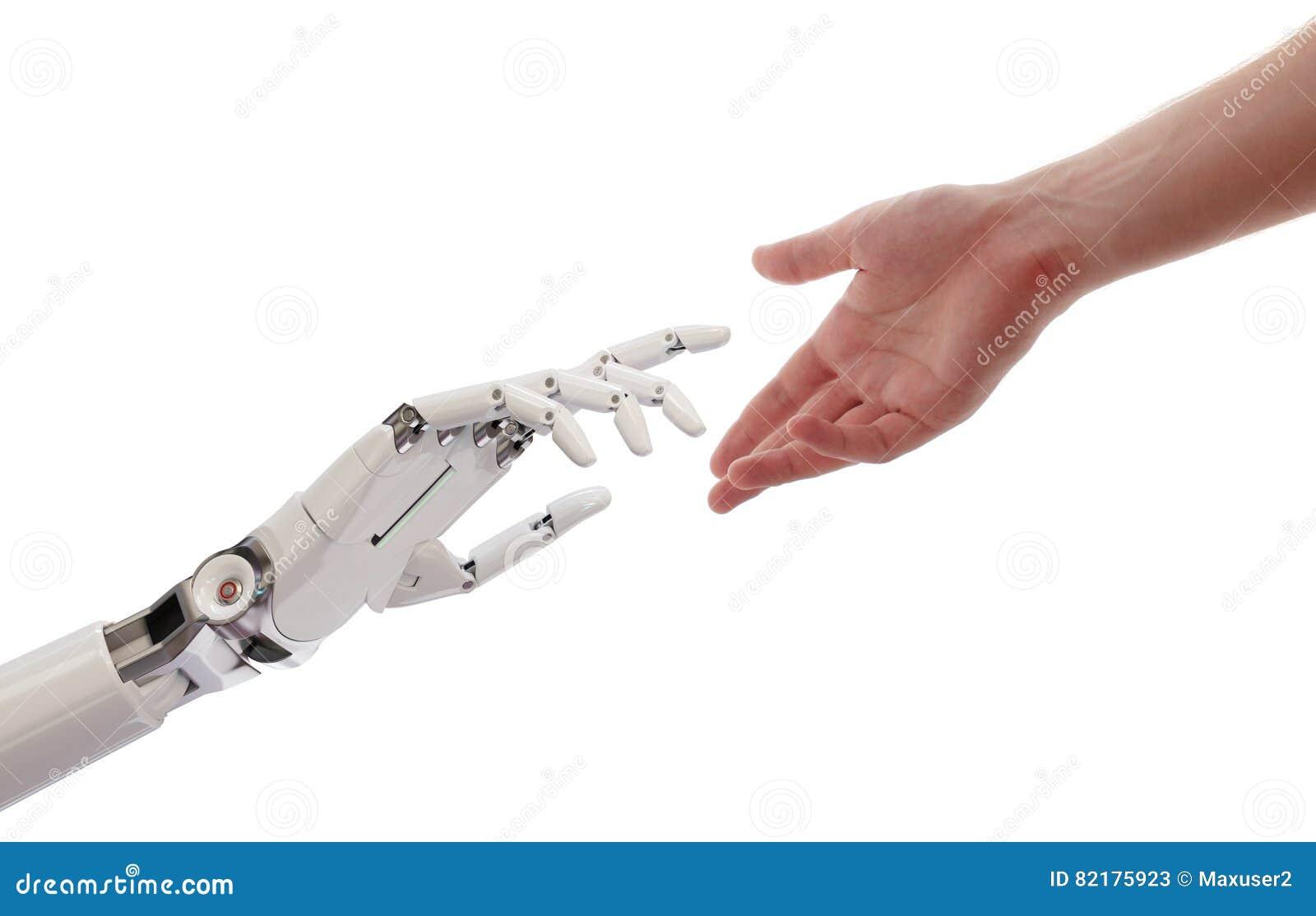 Mãos do ser humano e do robô que alcançam a ilustração do conceito 3d da inteligência artificial
