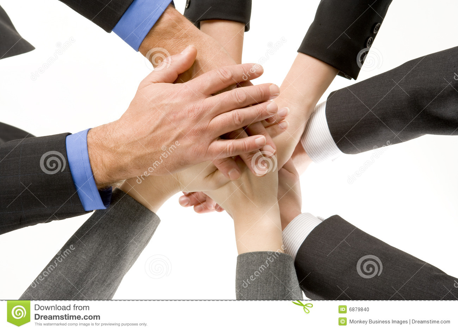 Mãos dos empresários dentro junto