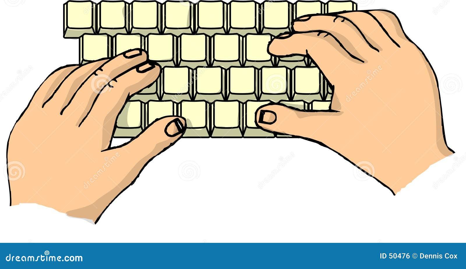 Mãos em um teclado