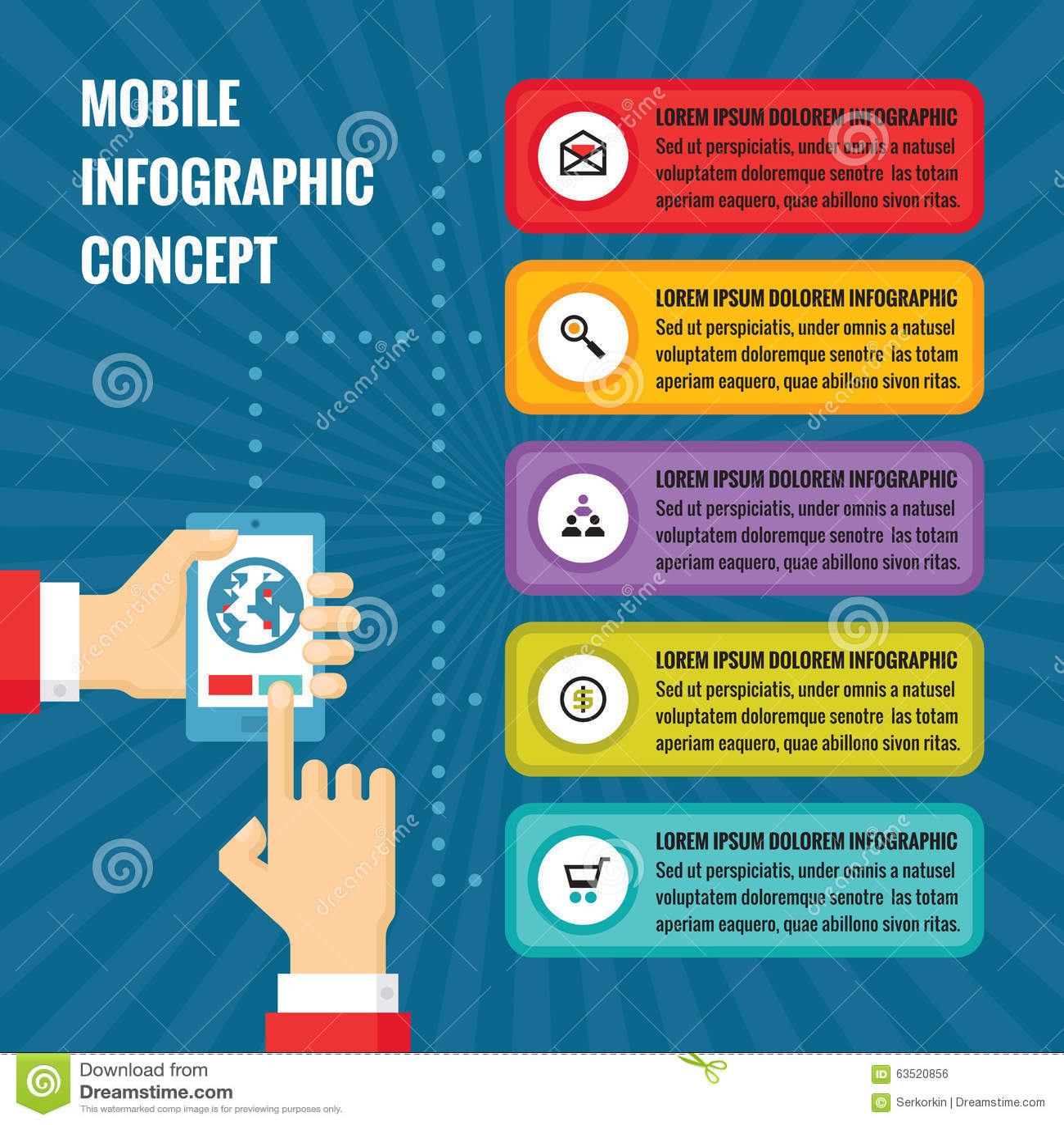 Mãos humanas com telefone celular com blocos do tela táctil e da aplicação - ilustração do conceito no estilo liso do projeto