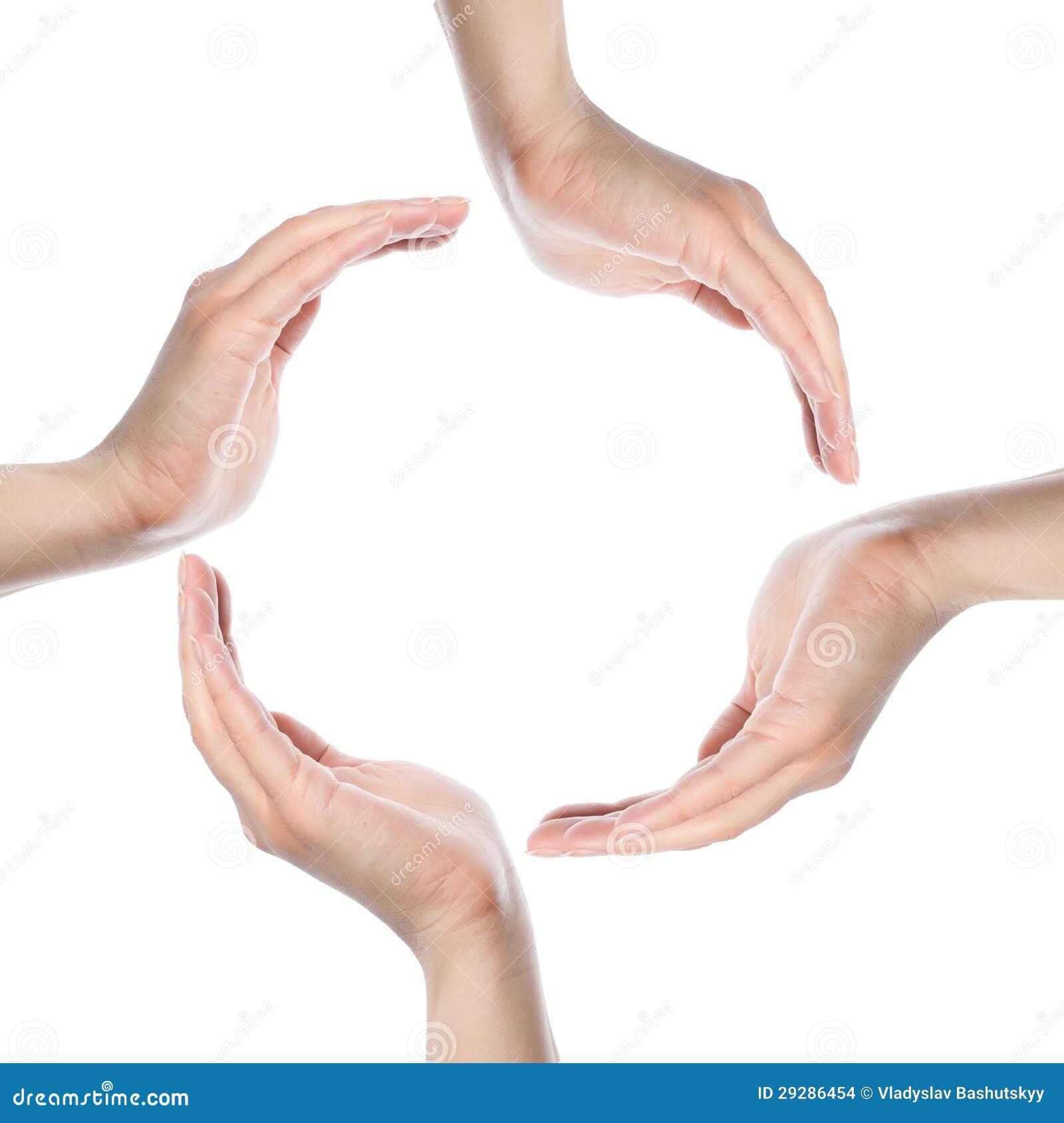 Mãos humanas que fazem um círculo no fundo branco