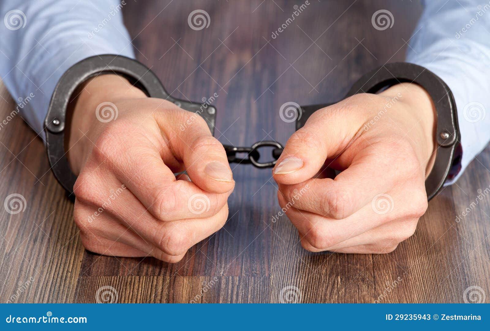 Download Mãos nas algemas imagem de stock. Imagem de closeup, detention - 29235943