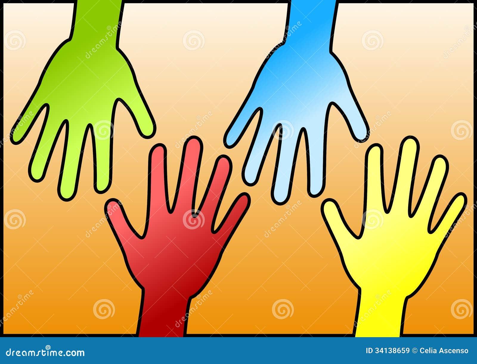 Mãos que alcançam-se para a ajuda