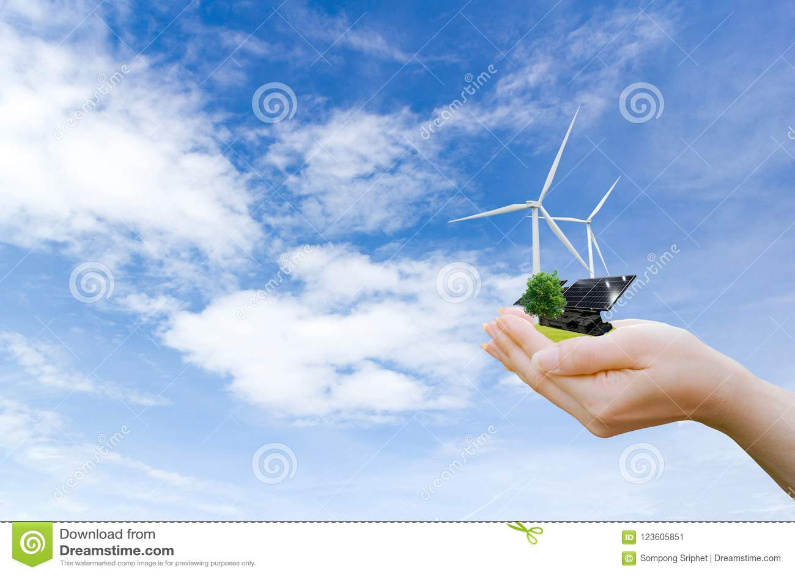 Mãos que guardam a turbina eólica limpa e a célula solar da energia elétrica da árvore o futuro