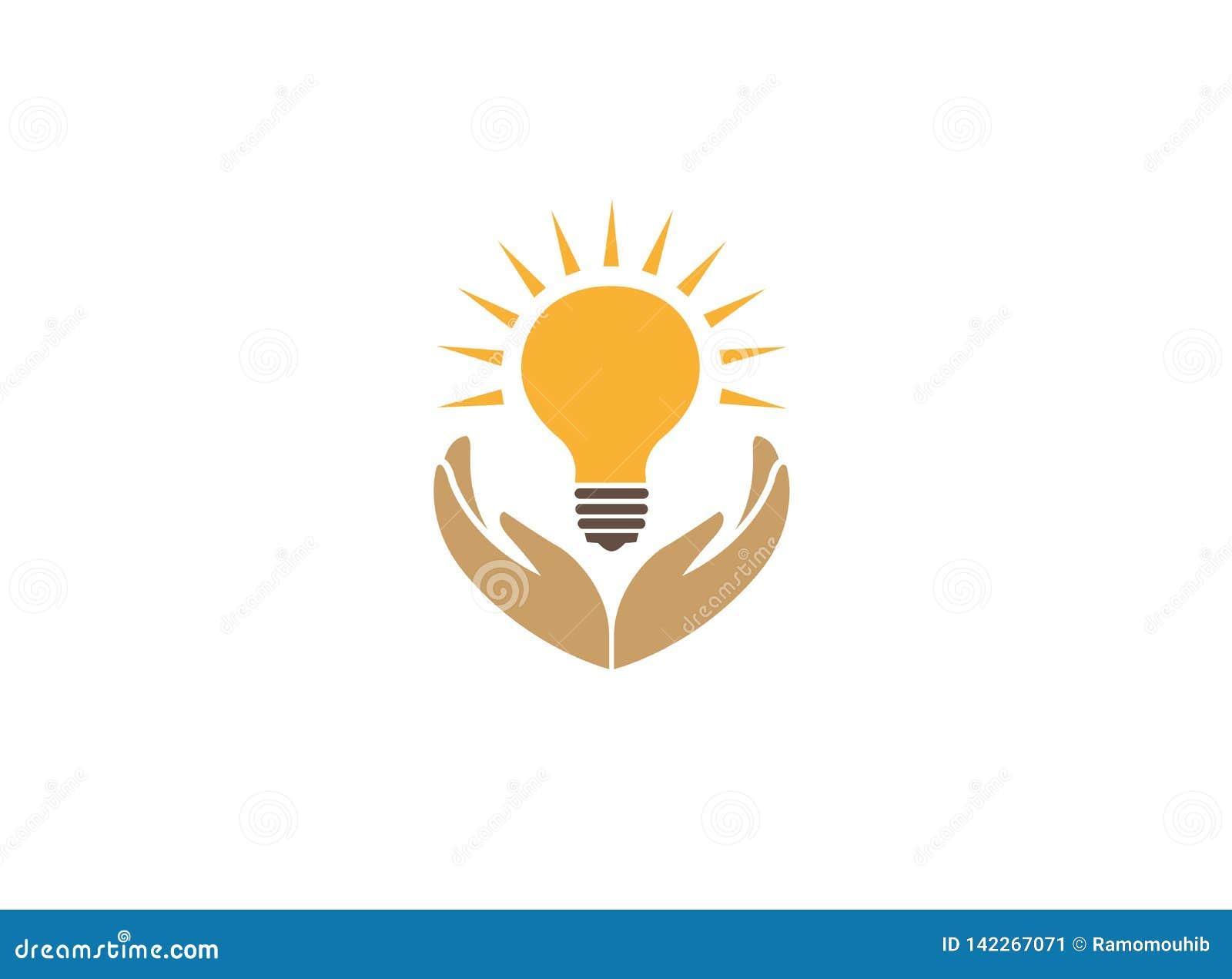 Mãos que guardam uma lâmpada com feixe para salvar a energia para a ilustração do projeto do logotipo