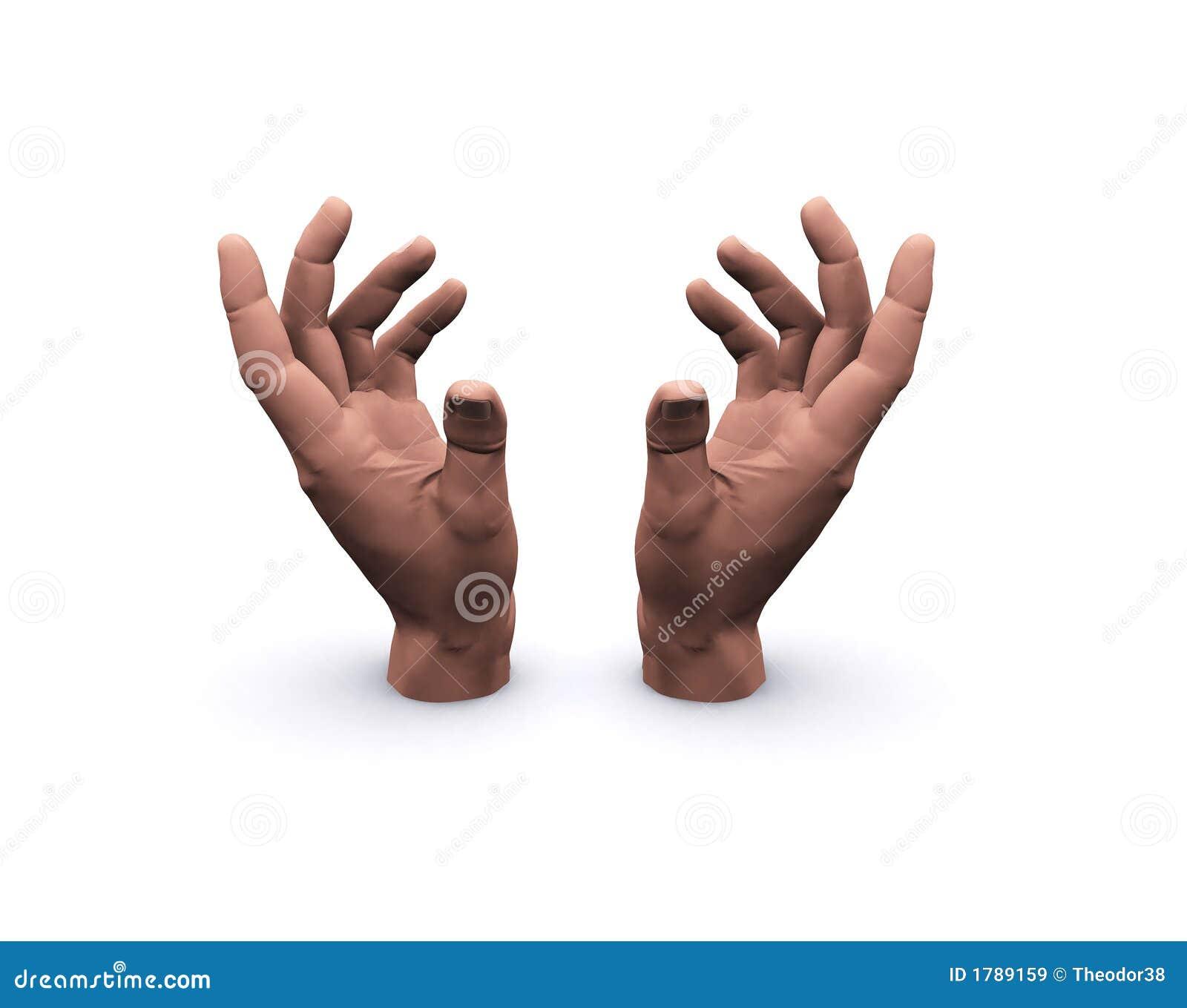 Mãos que prendem o espaço vazio