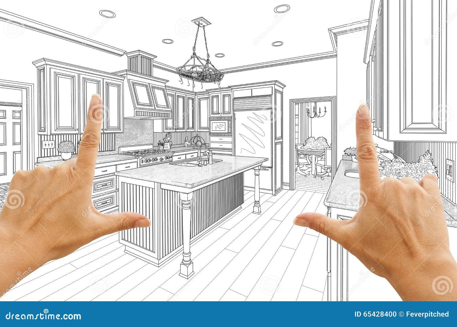 M Os Que Quadro O Desenho De Projeto Feito Sob Encomenda Da Cozinha