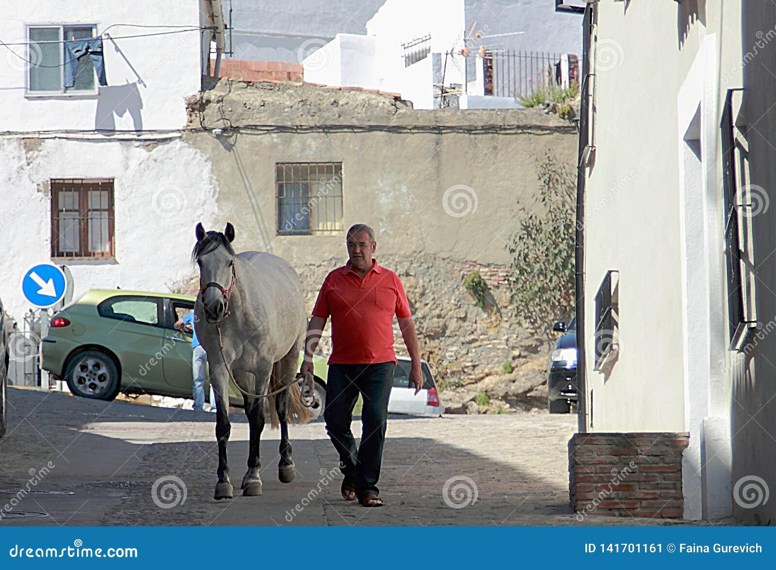 Mężczyzna i koń na ulicie Ronda