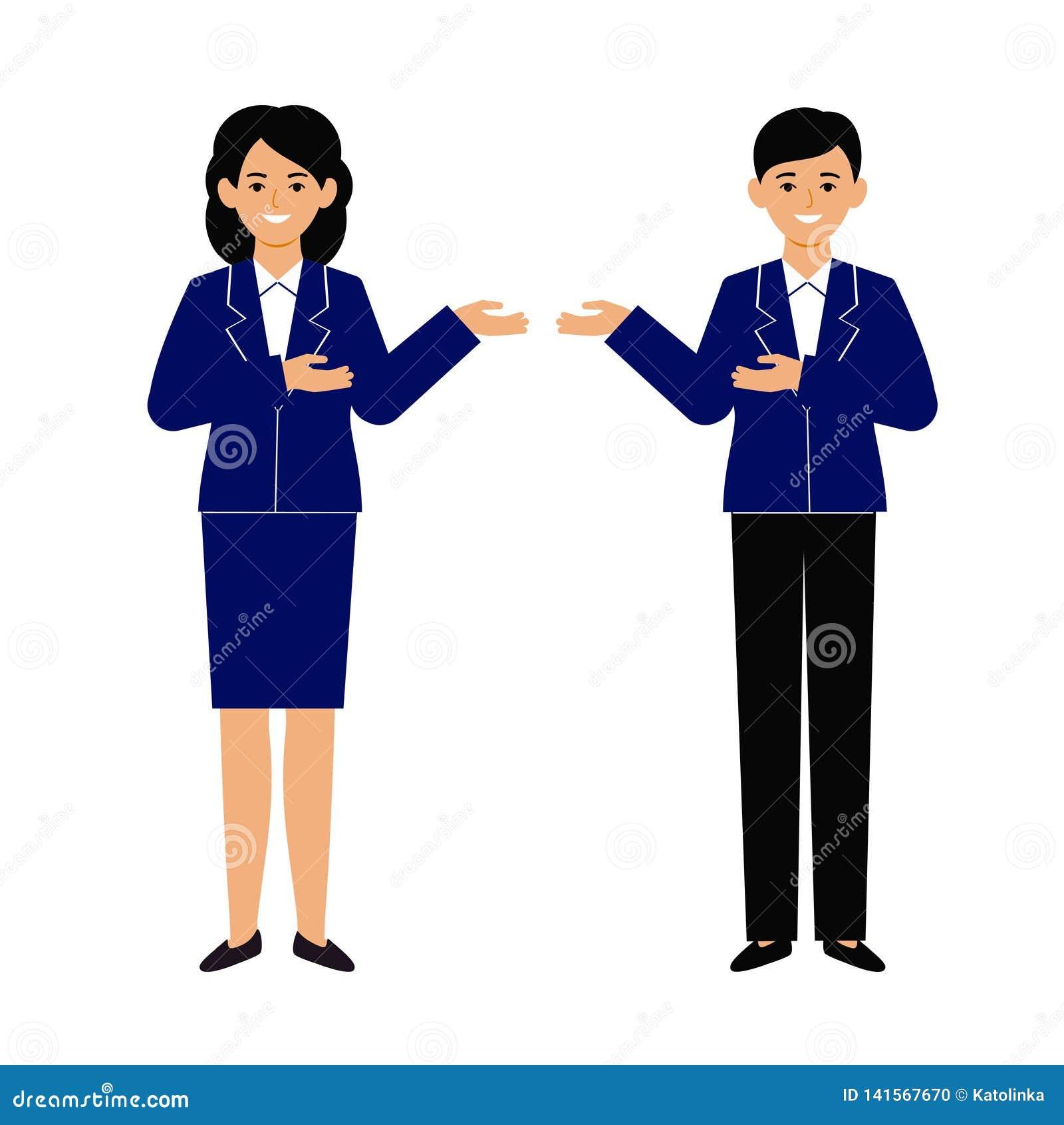Mężczyzna i kobieta reprezentujemy innej osoby Prezentacja, spotkanie, powitanie