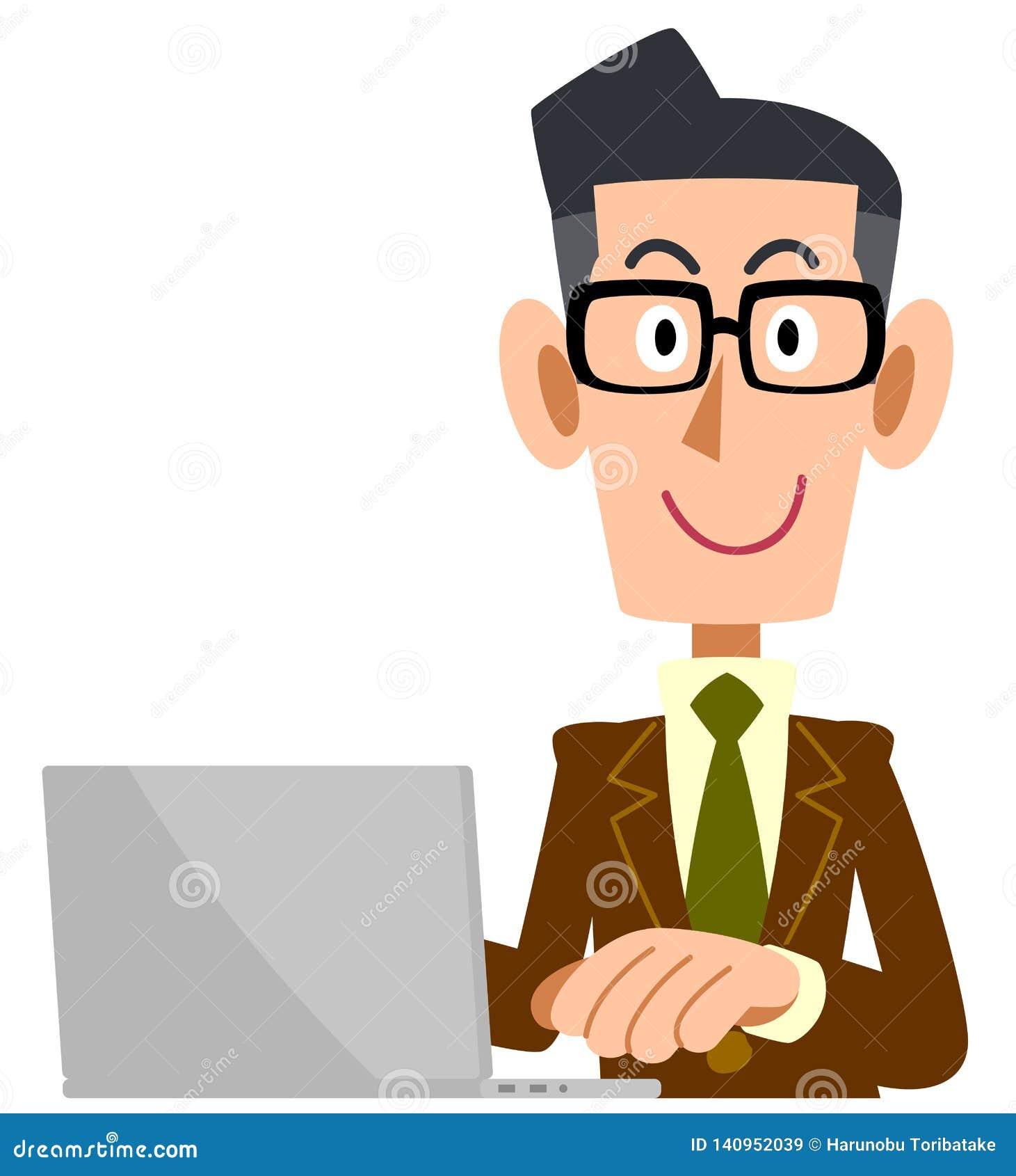 Mężczyzna który jest ubranym szkła jest ubranym brązu kostium działać komputer osobistego