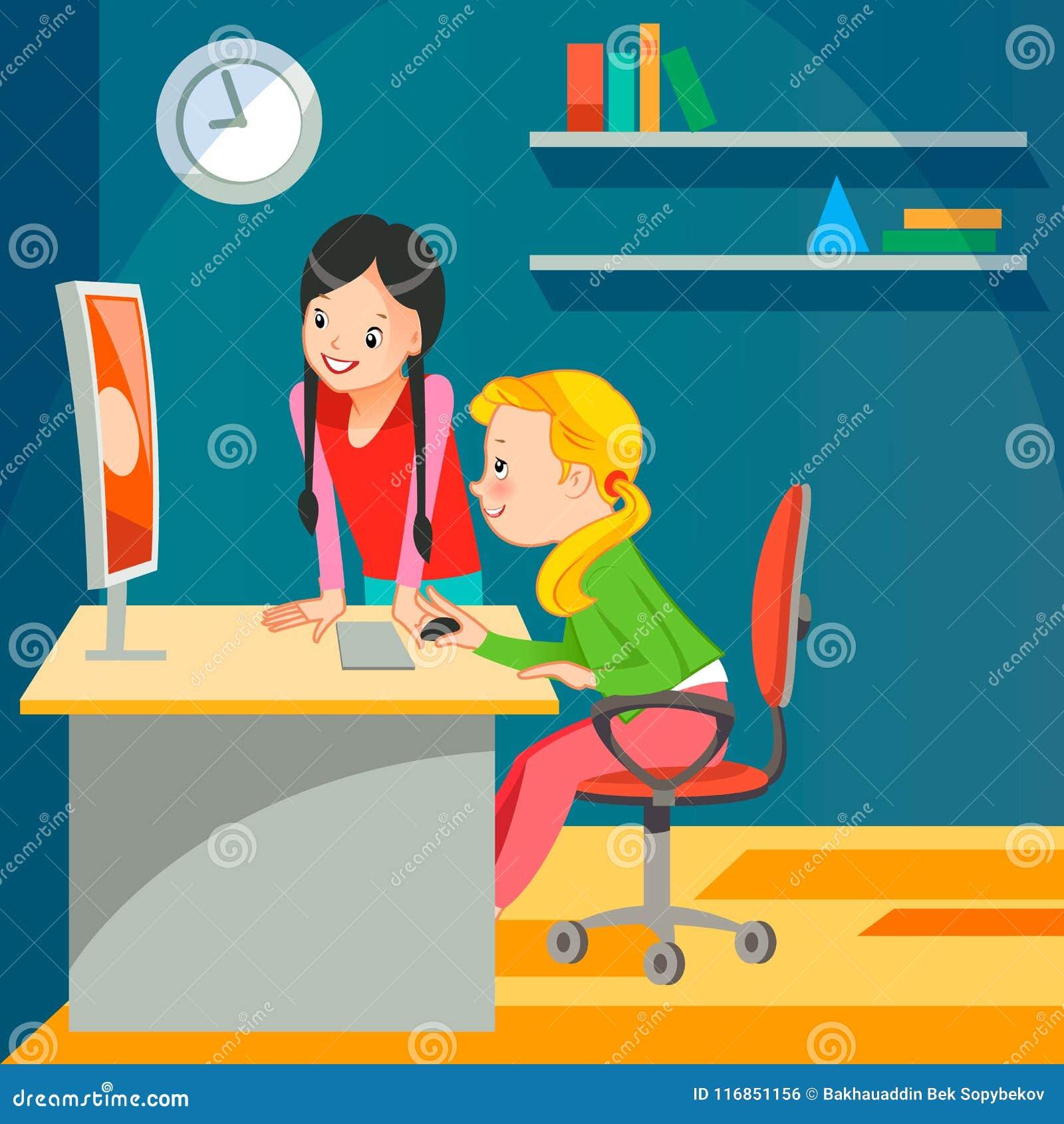 Mädchen c der Computer