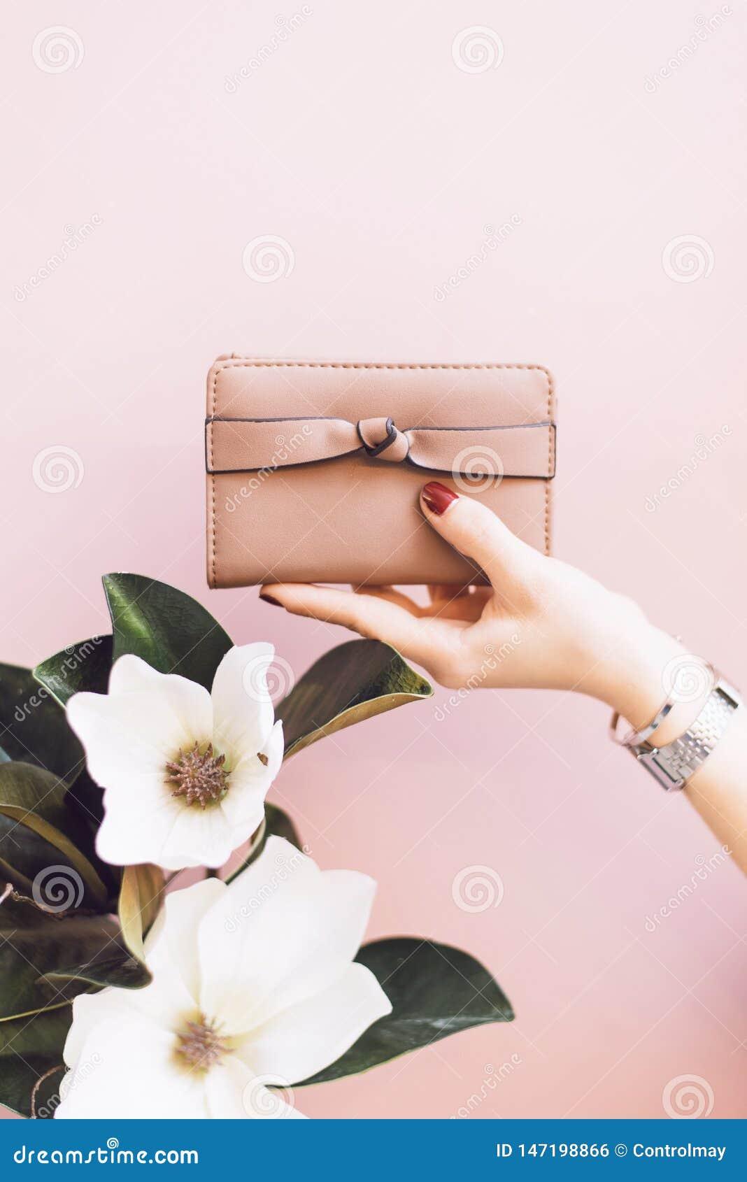 Mädchen, das eine rosa Geldbörse auf einem leichten Pastellhintergrund mit einer Blume hält
