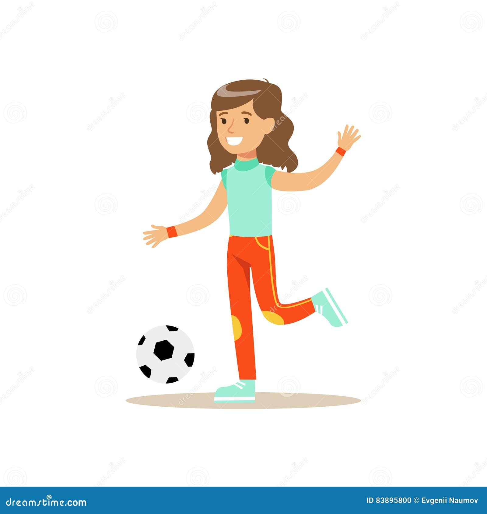 Madchen Das Fussball Kind Ubt Unterschiedlichen Sport Und
