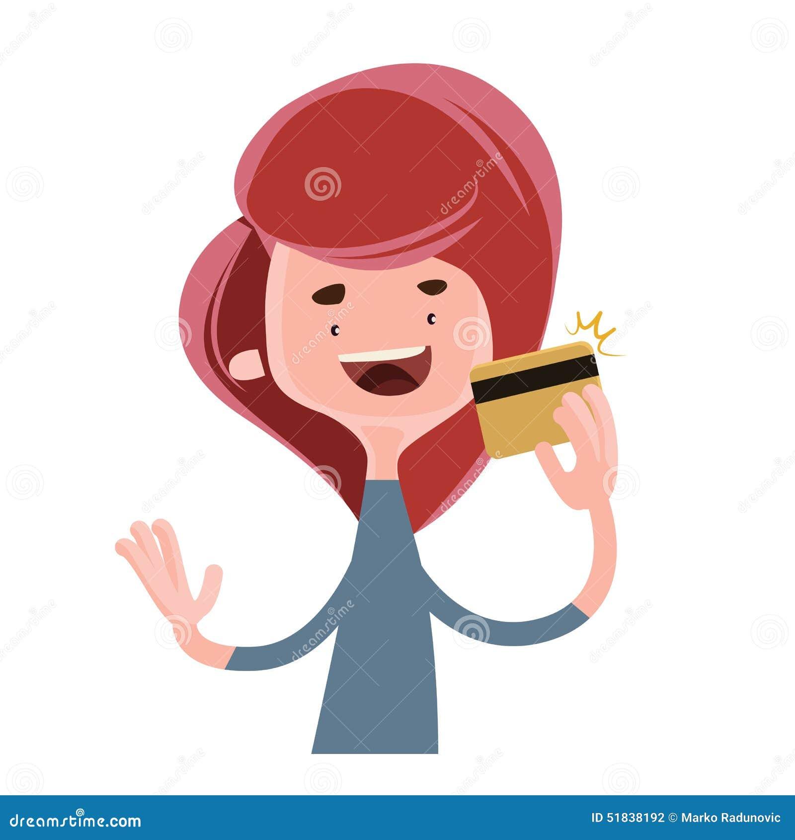 Mädchen, das Goldkreditkarte-Illustrationszeichentrickfilm-figur hält