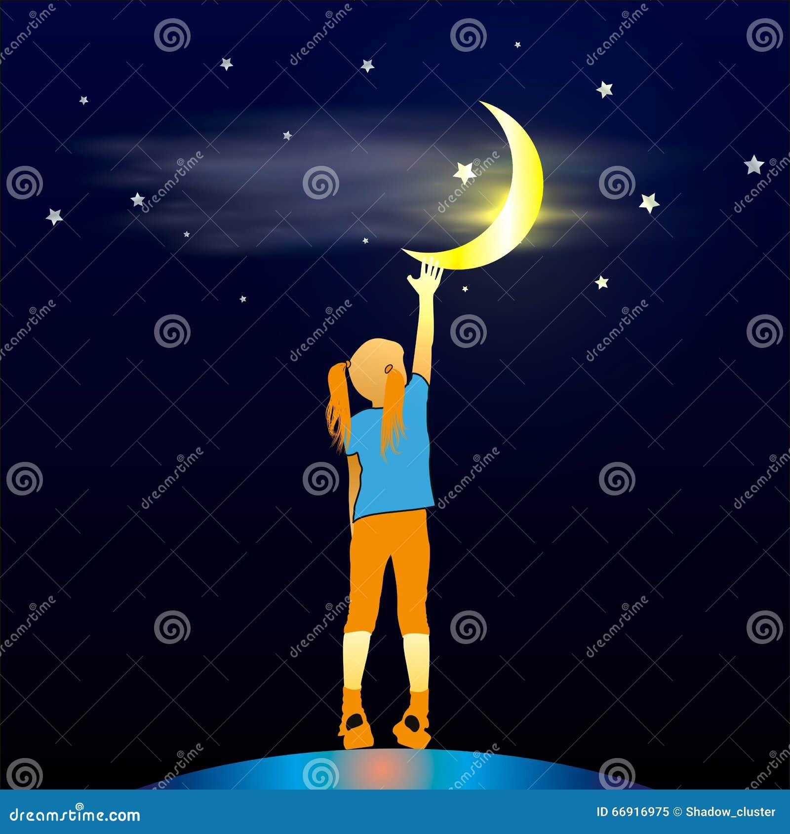 Mädchen, das oben dem Mond betrachtet