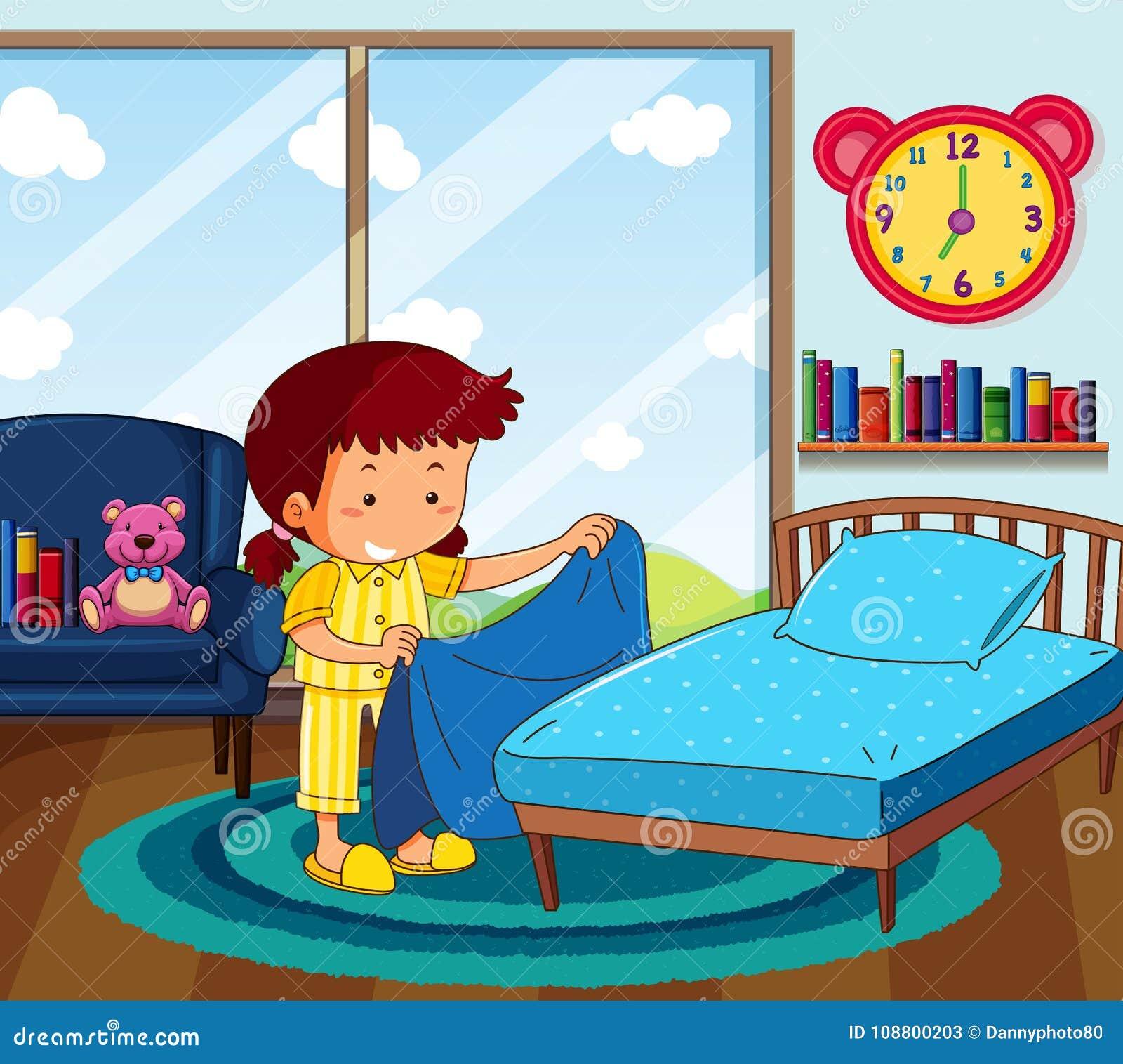 mädchen in den gelben pyjamas, die bett im schlafzimmer machen