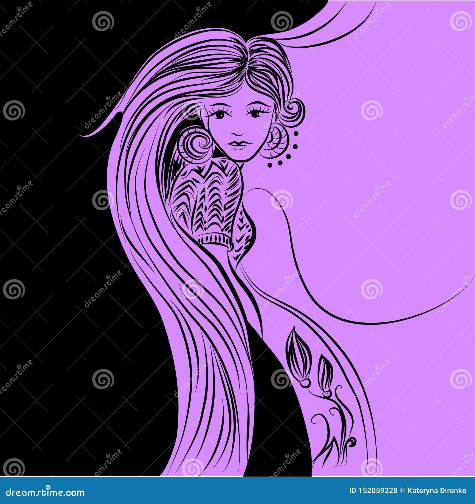 Mädchen in der einfarbigen Illustration der schwarzen Jackenillustration in der Skizzenart