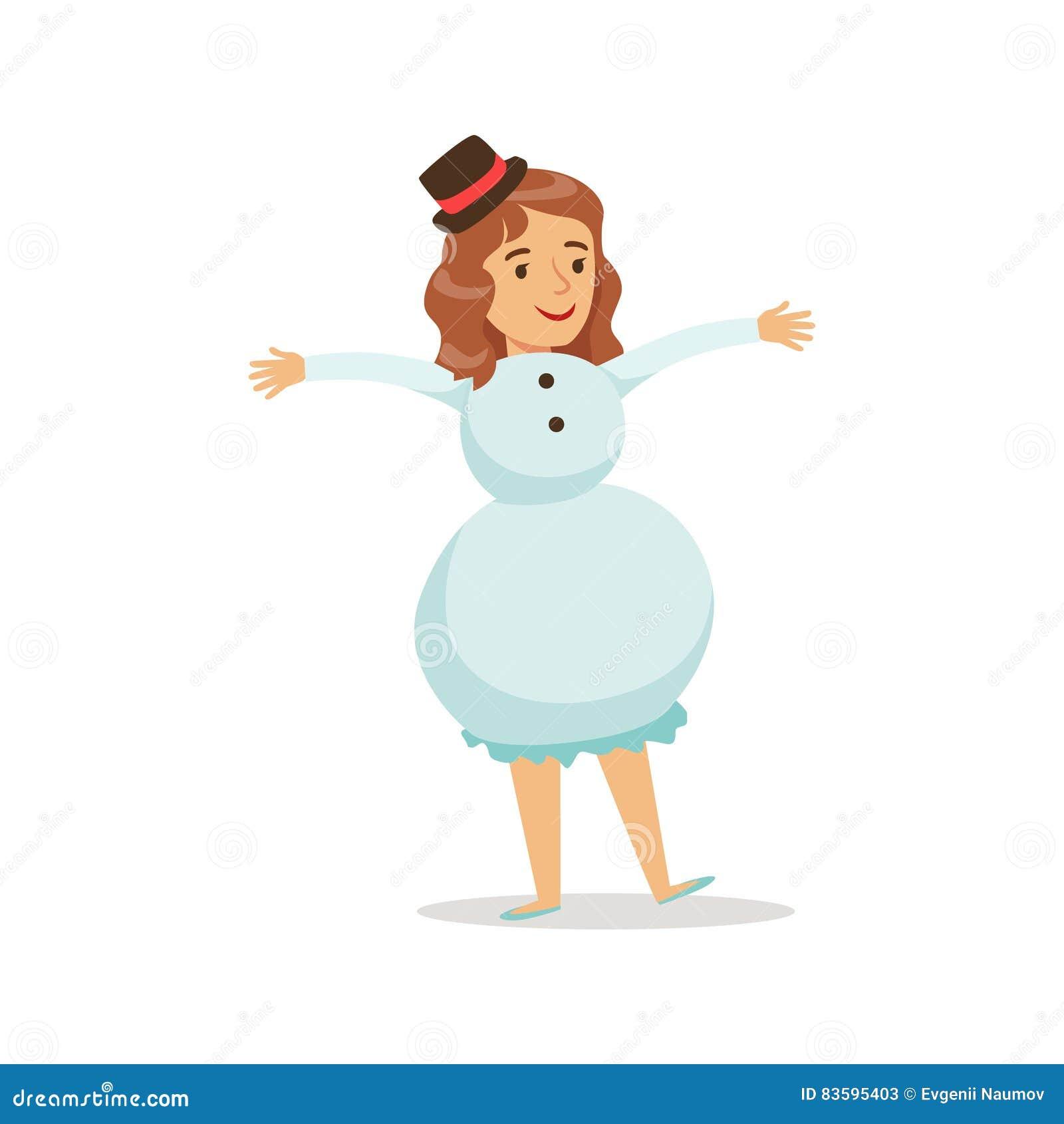 Mädchen In Der Schneemann-Ausstattung Gekleidet Als Winterurlaub ...