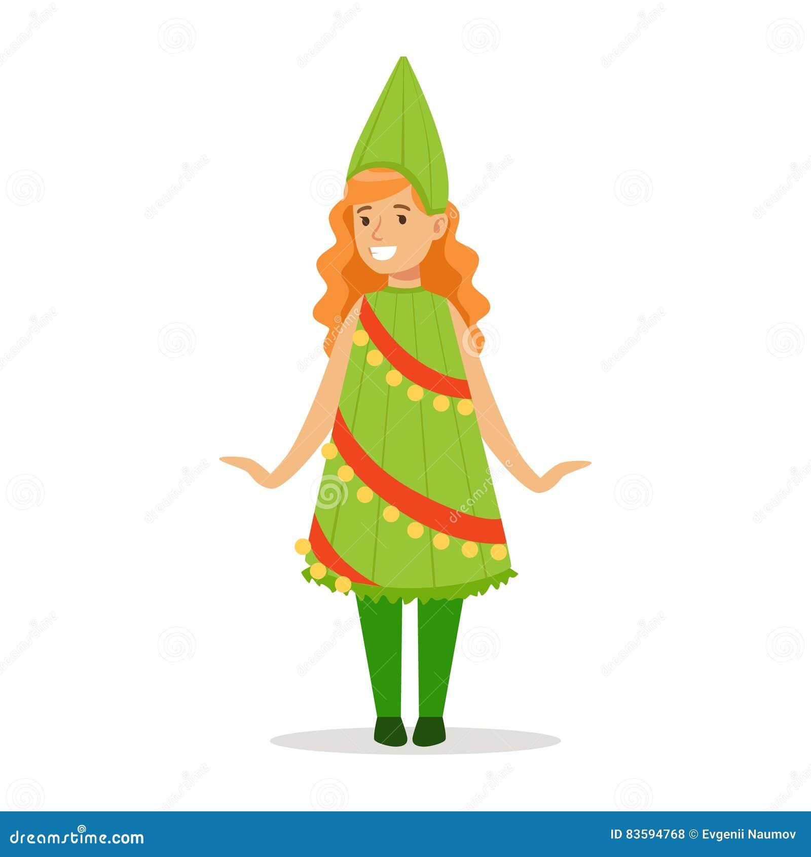 Mädchen In Der Weihnachtsbaum-Ausstattung Gekleidet Als Winterurlaub ...
