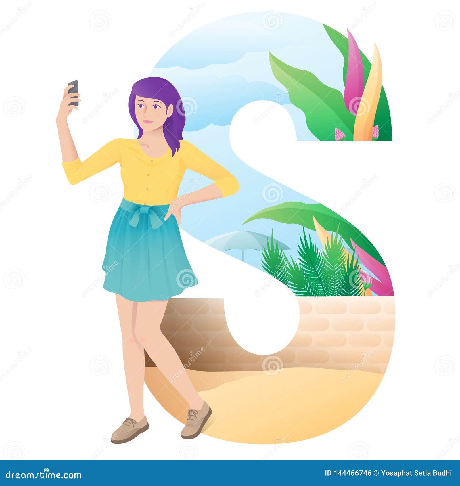 Mädchen des Alphabetes S, das selfie auf Sommer tut
