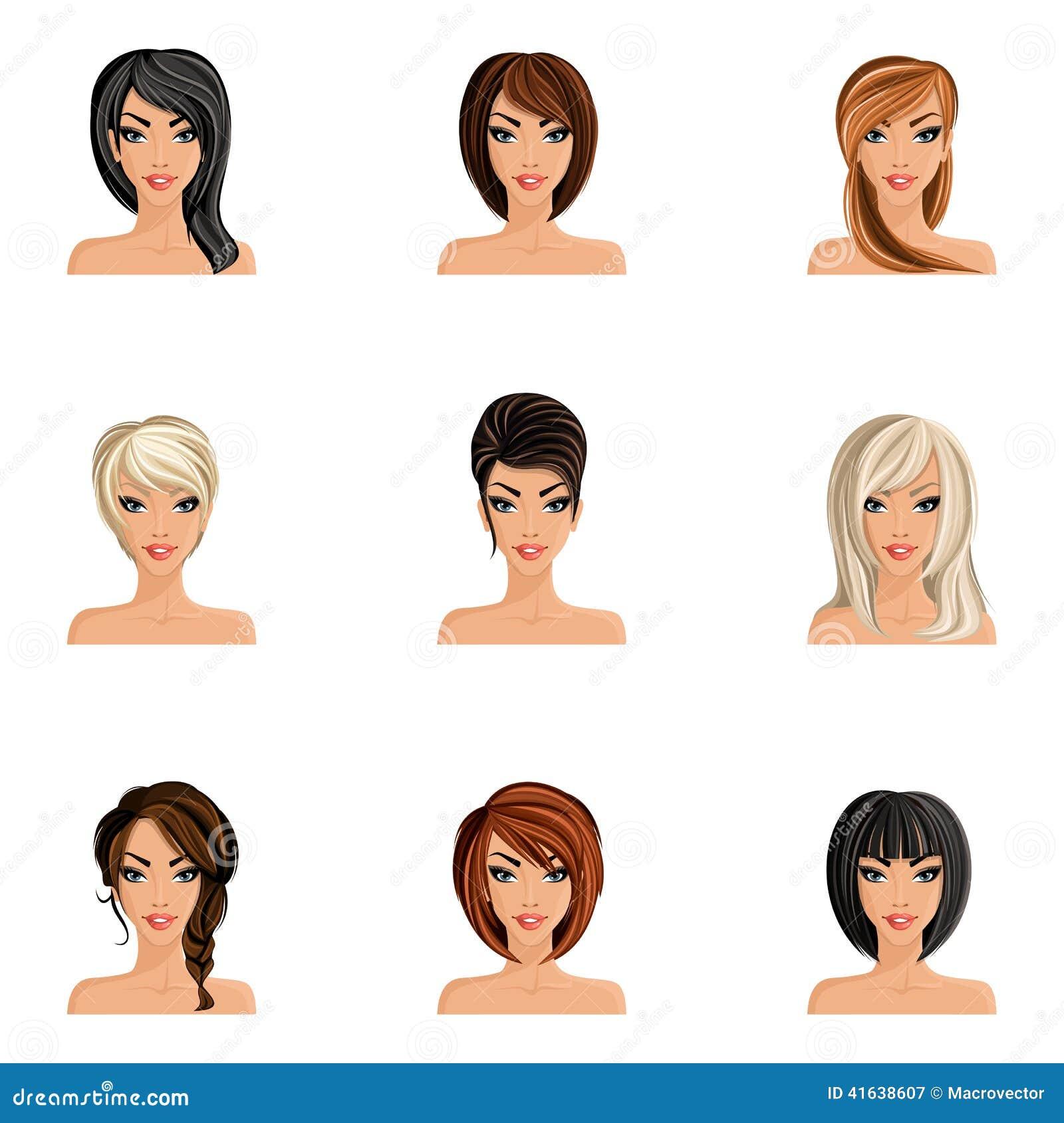 Mädchen Frisuren Satz Vektor Abbildung Illustration Von Avatara