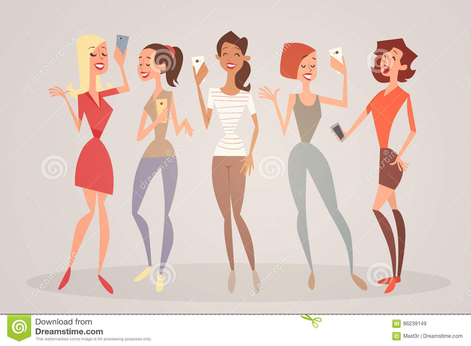 Mädchen-Gruppe, die Selfie-Foto auf Zellintelligentes Telefon-dem jungen Karikatur-Frauen-Lächeln macht