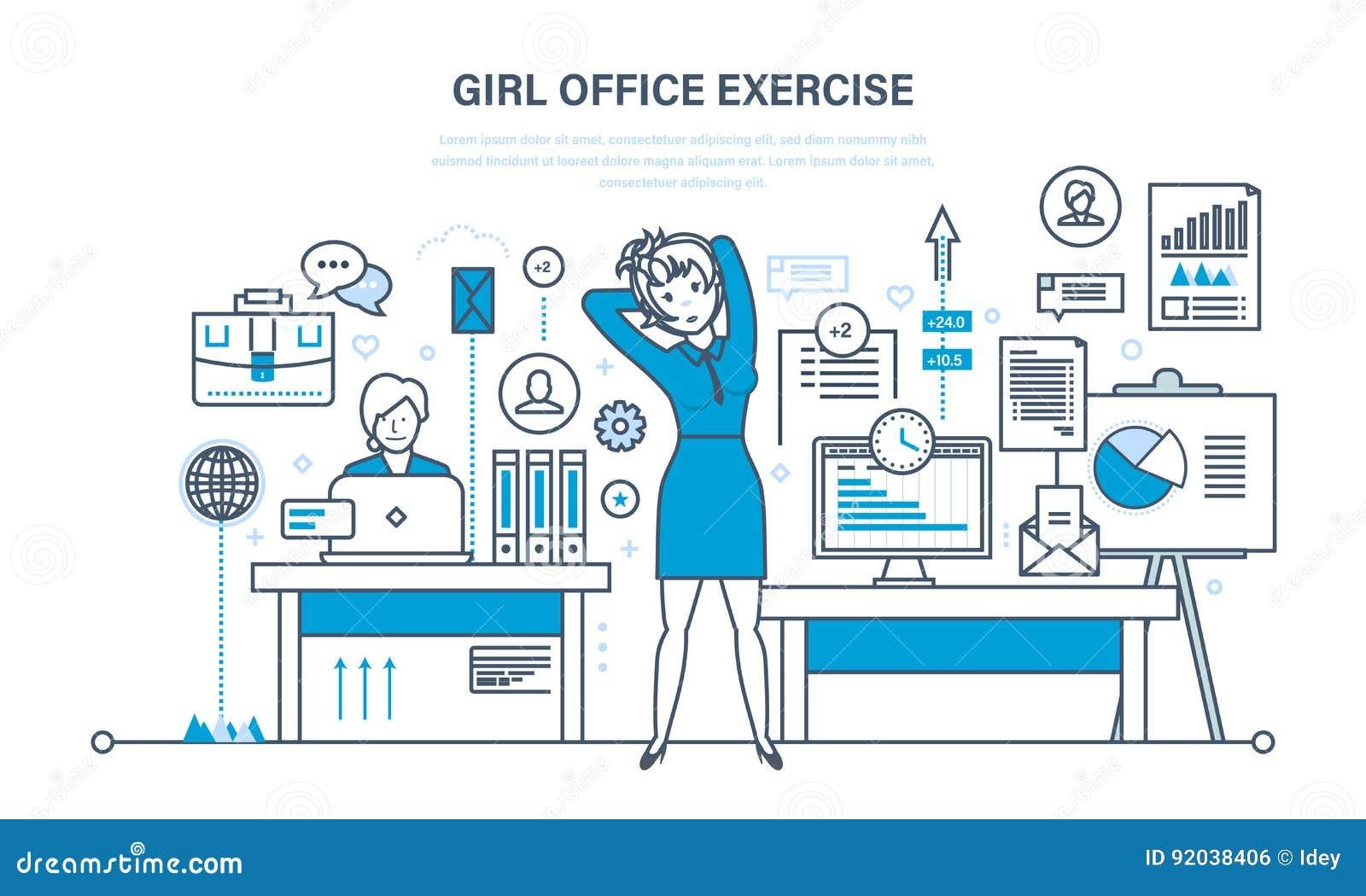 Mädchen Im Büro Tun übungen Für Rest Und Wiederaufnahme Vektor