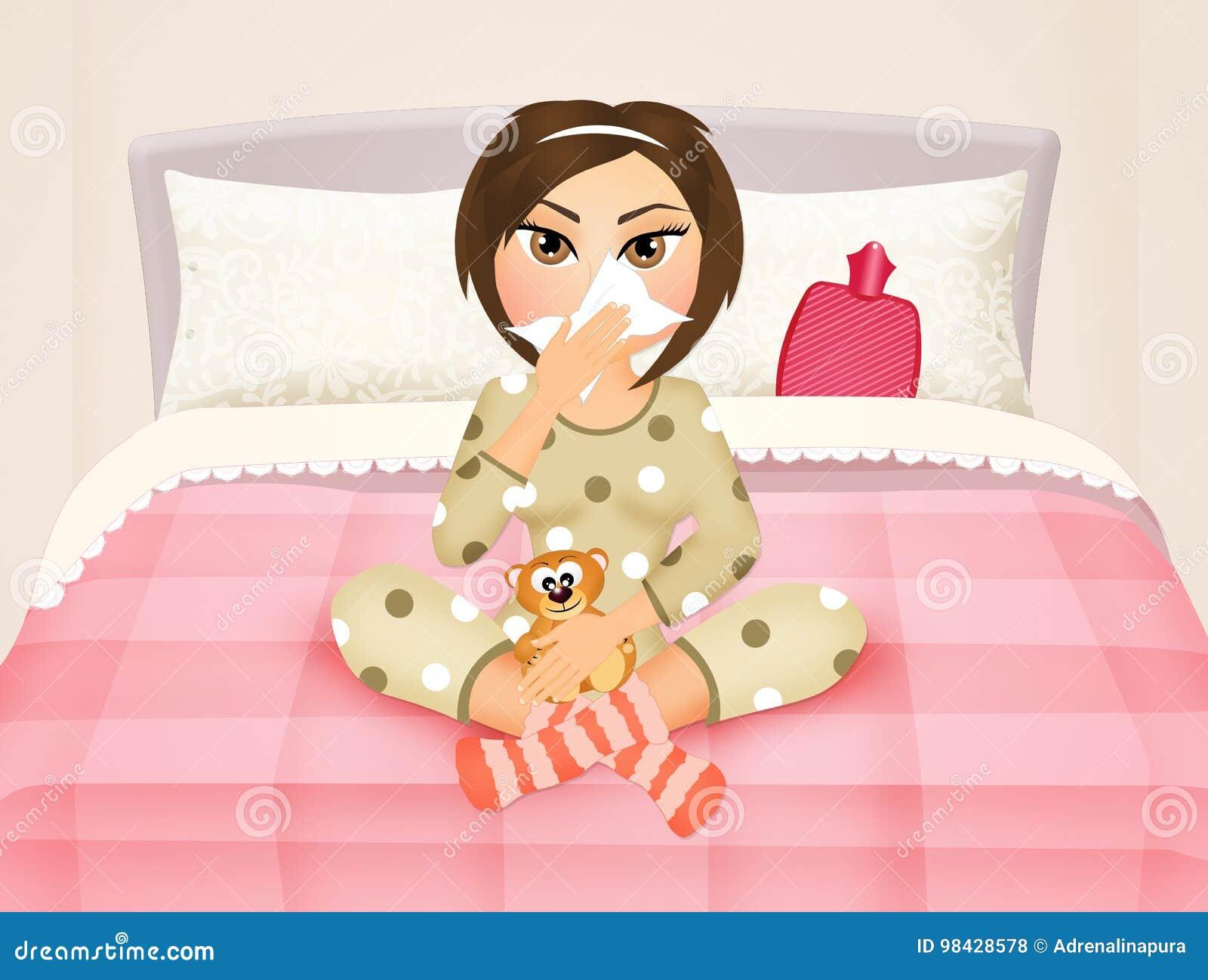 Madchen Im Bett Mit Der Grippe Stock Abbildung Illustration Von