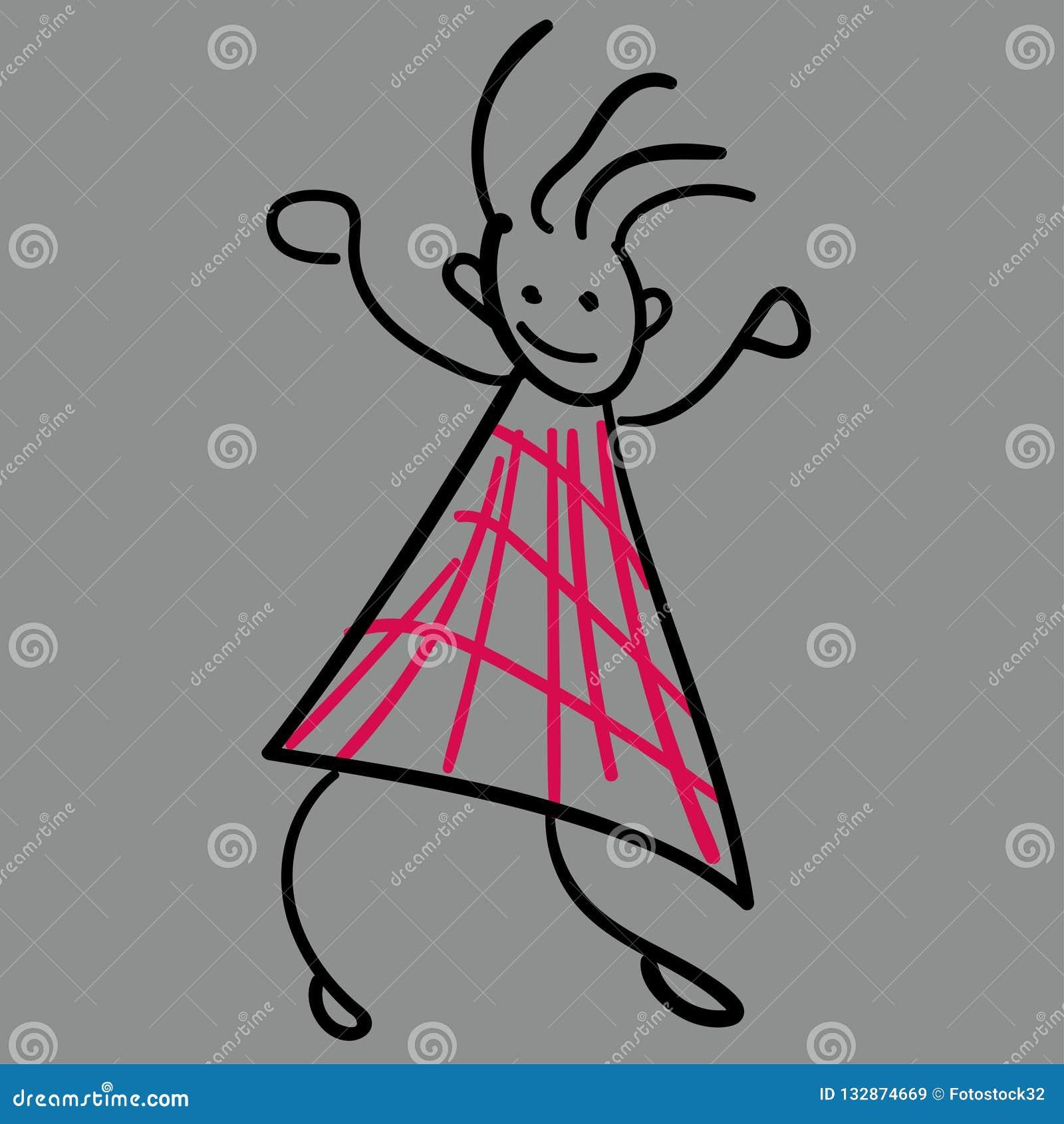 Mädchen im Stil der Zeichnungen der Kinder