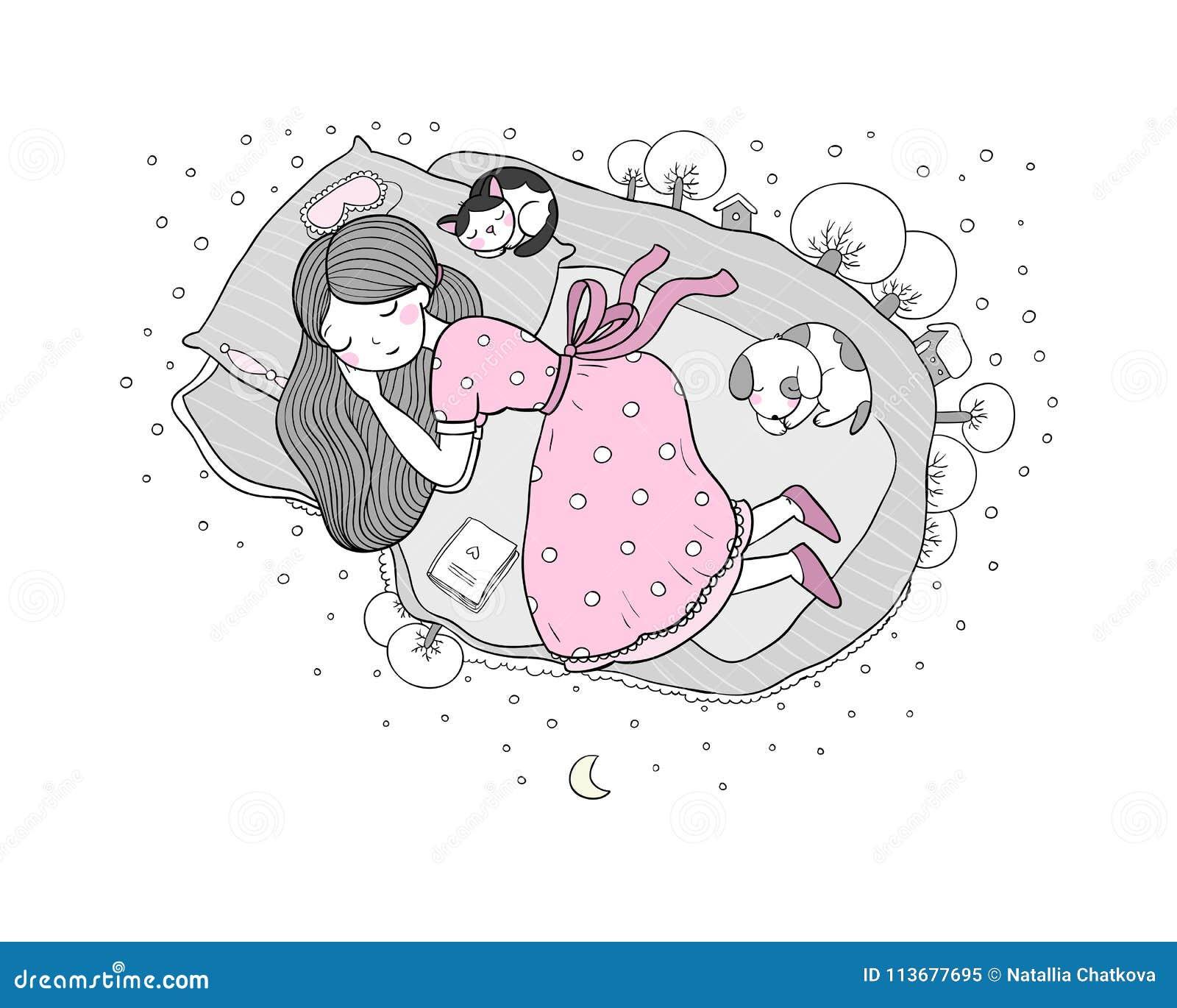 Madchen Katzen Und Hund Schlafen Im Bett Gute Nacht Vektor