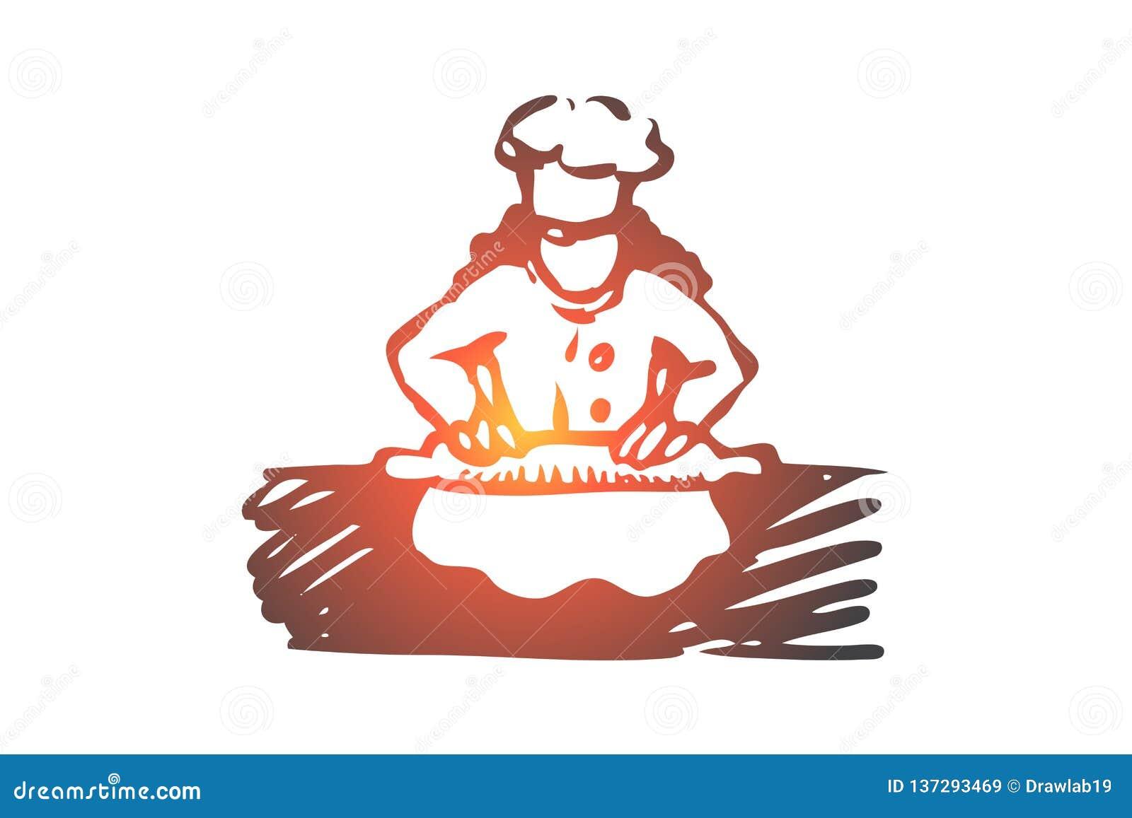 Mädchen, Koch, Rolle, Teig, Nahrungsmittelkonzept Hand gezeichneter lokalisierter Vektor
