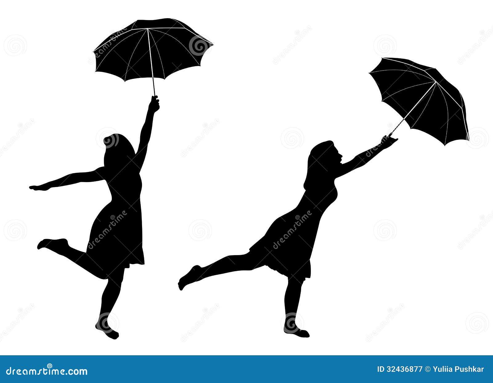 Mädchen Mit Regenschirm Vektor Abbildung. Illustration