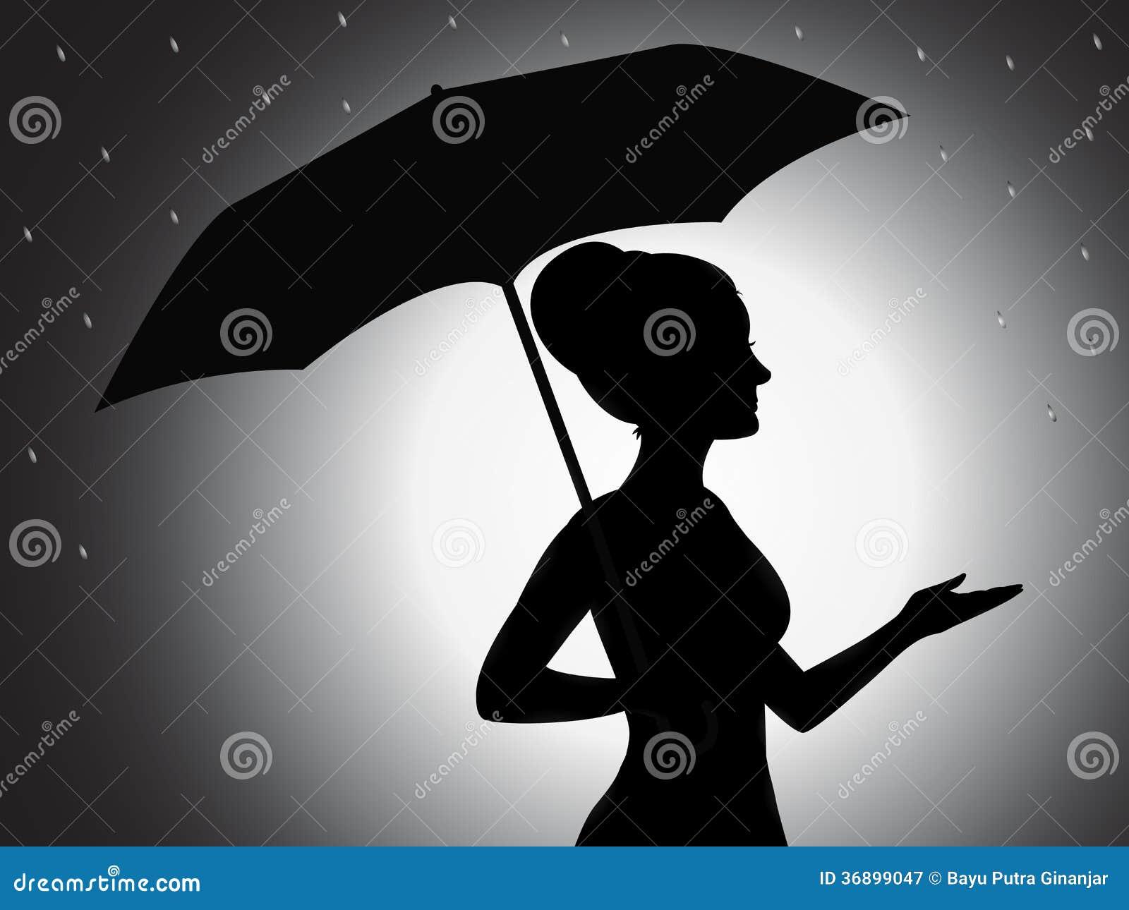 mädchen mit regenschirmschattenbild lizenzfreie