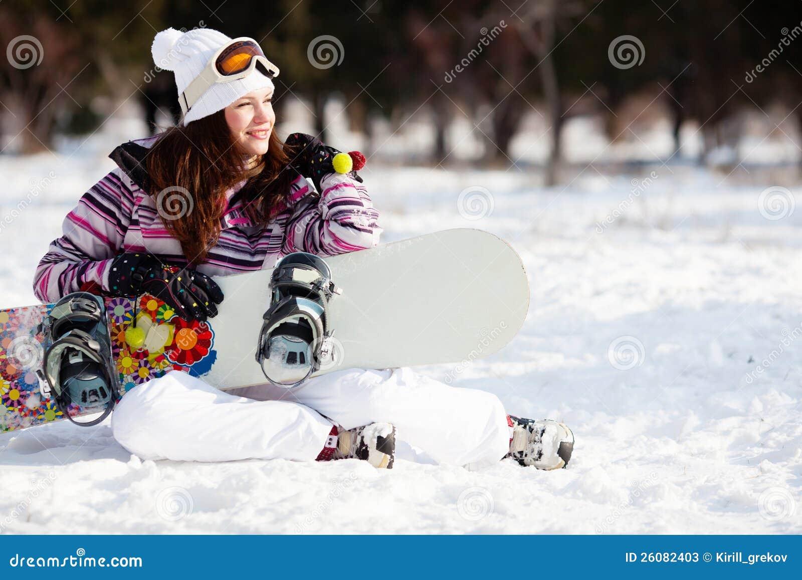 Mädchen mit Snowboard