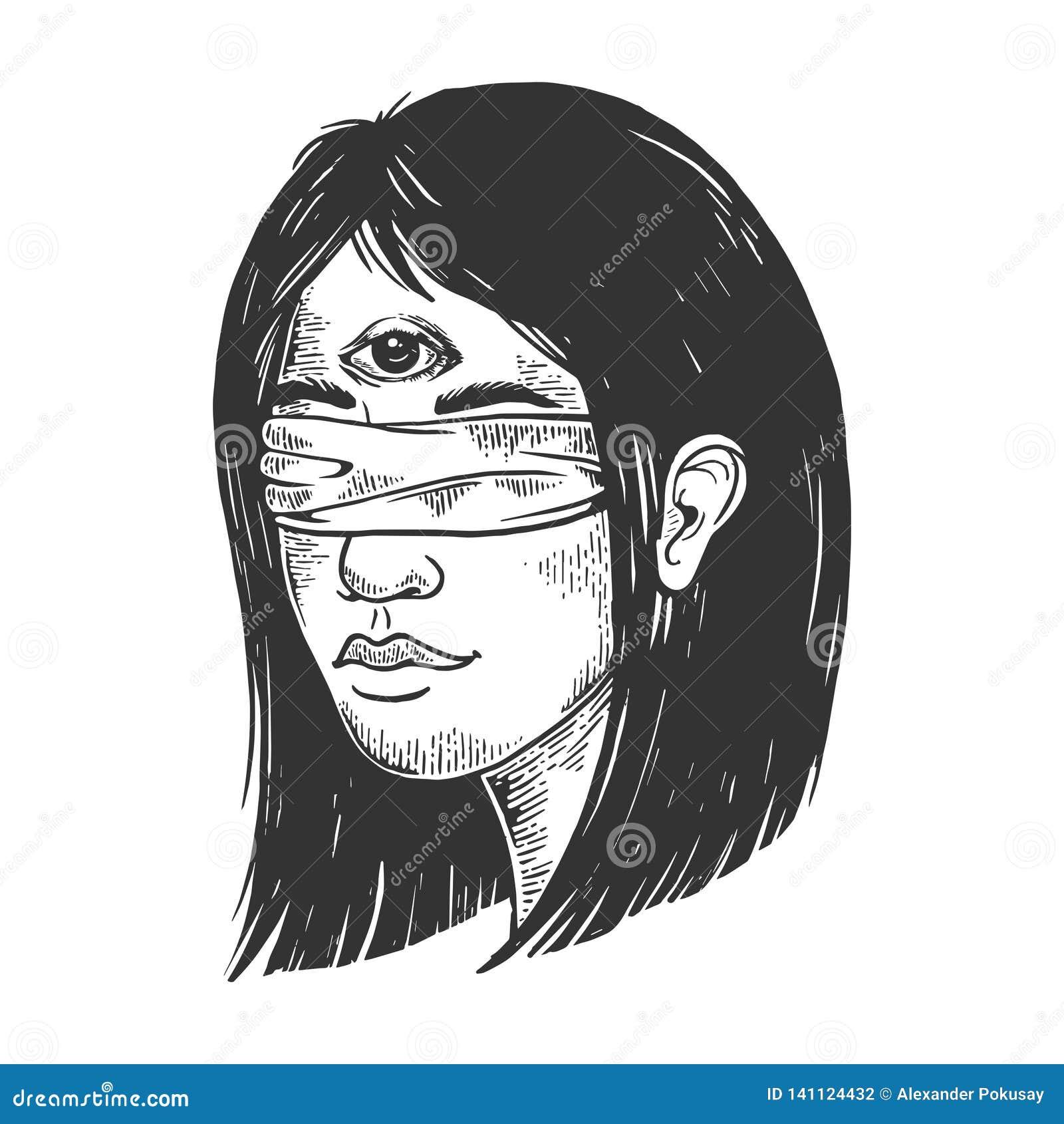 Mädchen mit verbundenen Augen mit drei Augen, die Vektor gravieren