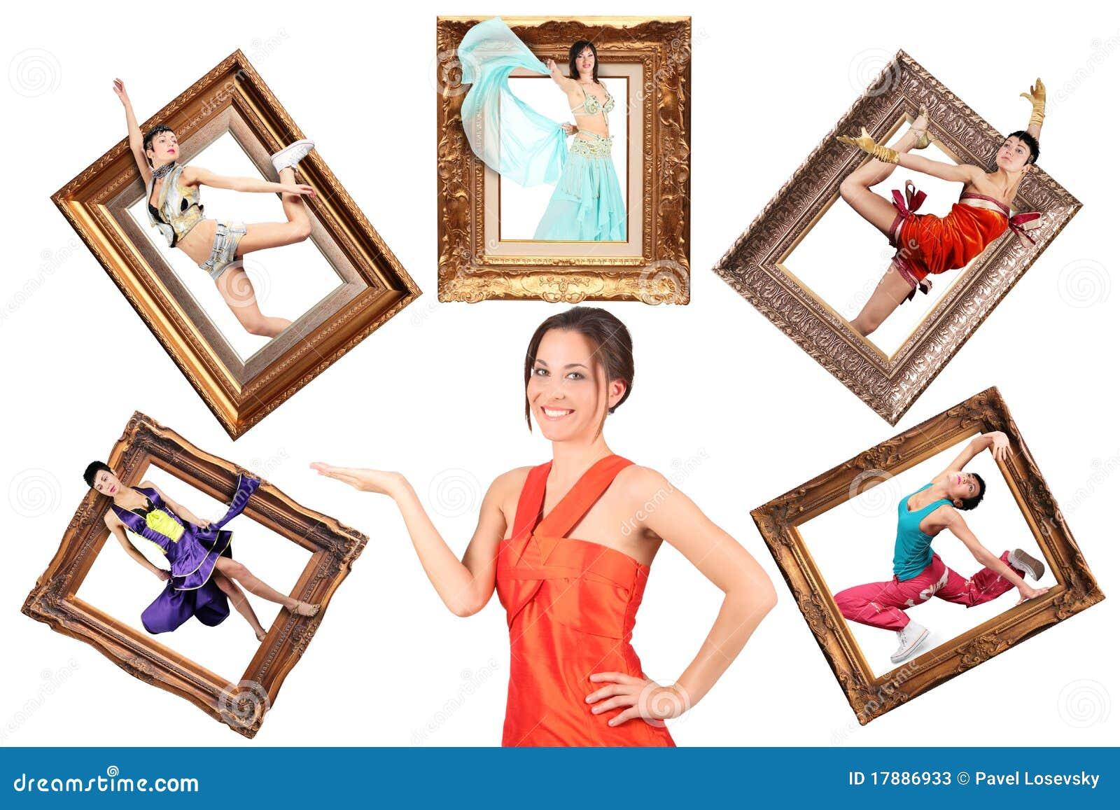 Mädchen showes multi Aufgabe viele Frauen im Bilderrahmen