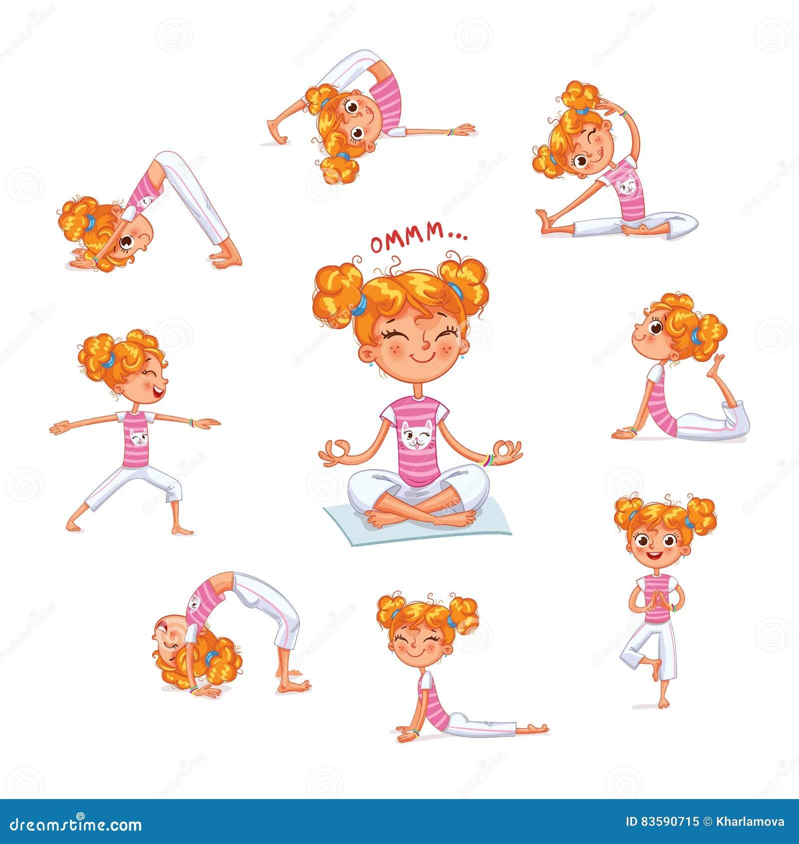 Mädchen Teilgenommen An Körperlichen Bewegungen Yogakind Vektor ...