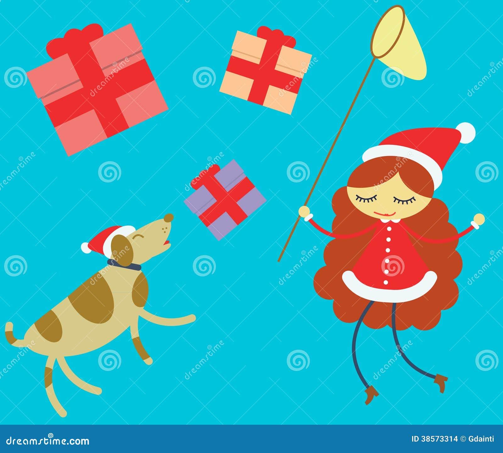 Mädchen Und Hund, Die Weihnachtsgeschenke Jagen Stock Abbildung ...