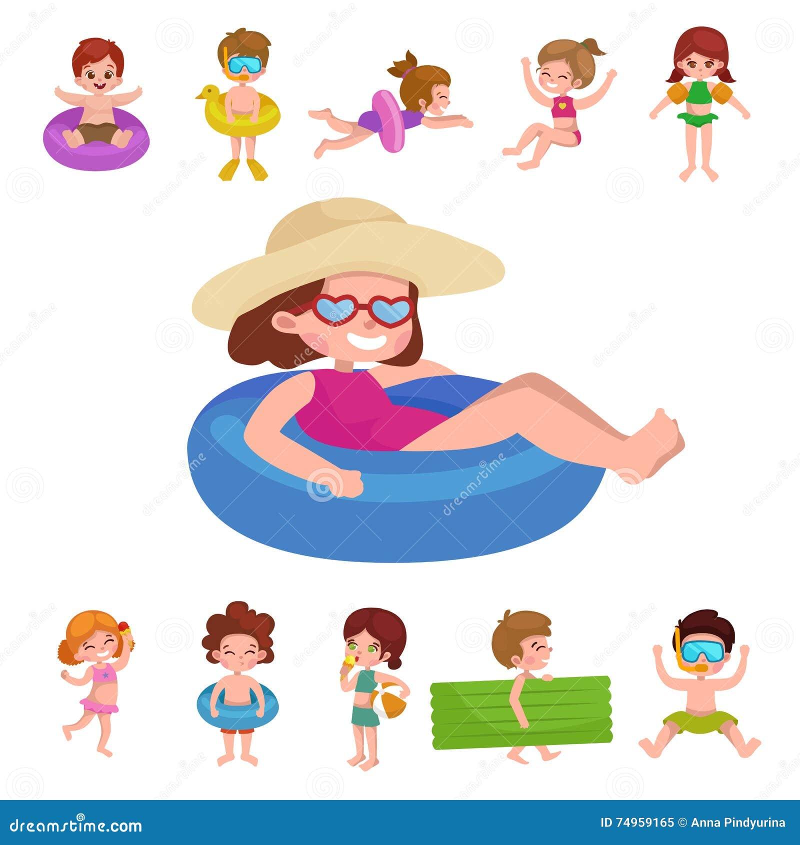 m dchen und junge im badeanzug kindersommerferien vektor abbildung bild 74959165. Black Bedroom Furniture Sets. Home Design Ideas