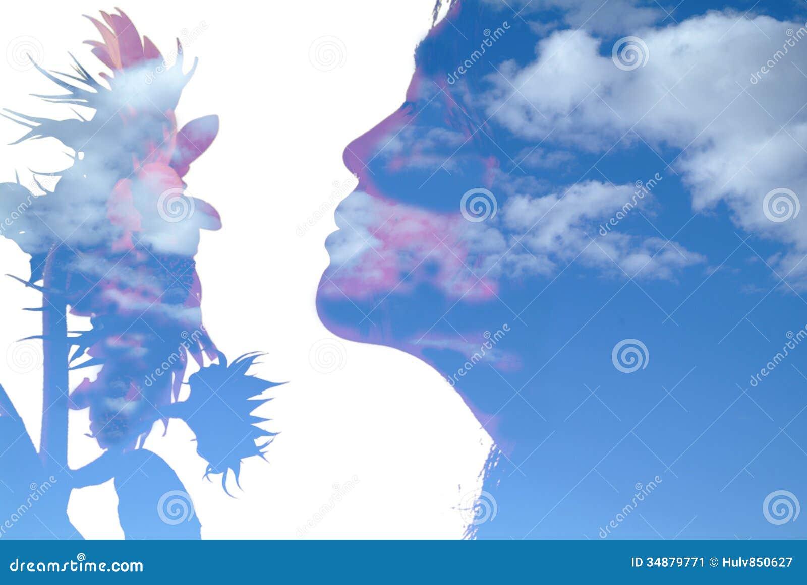 Mädchen und Sonnenblume
