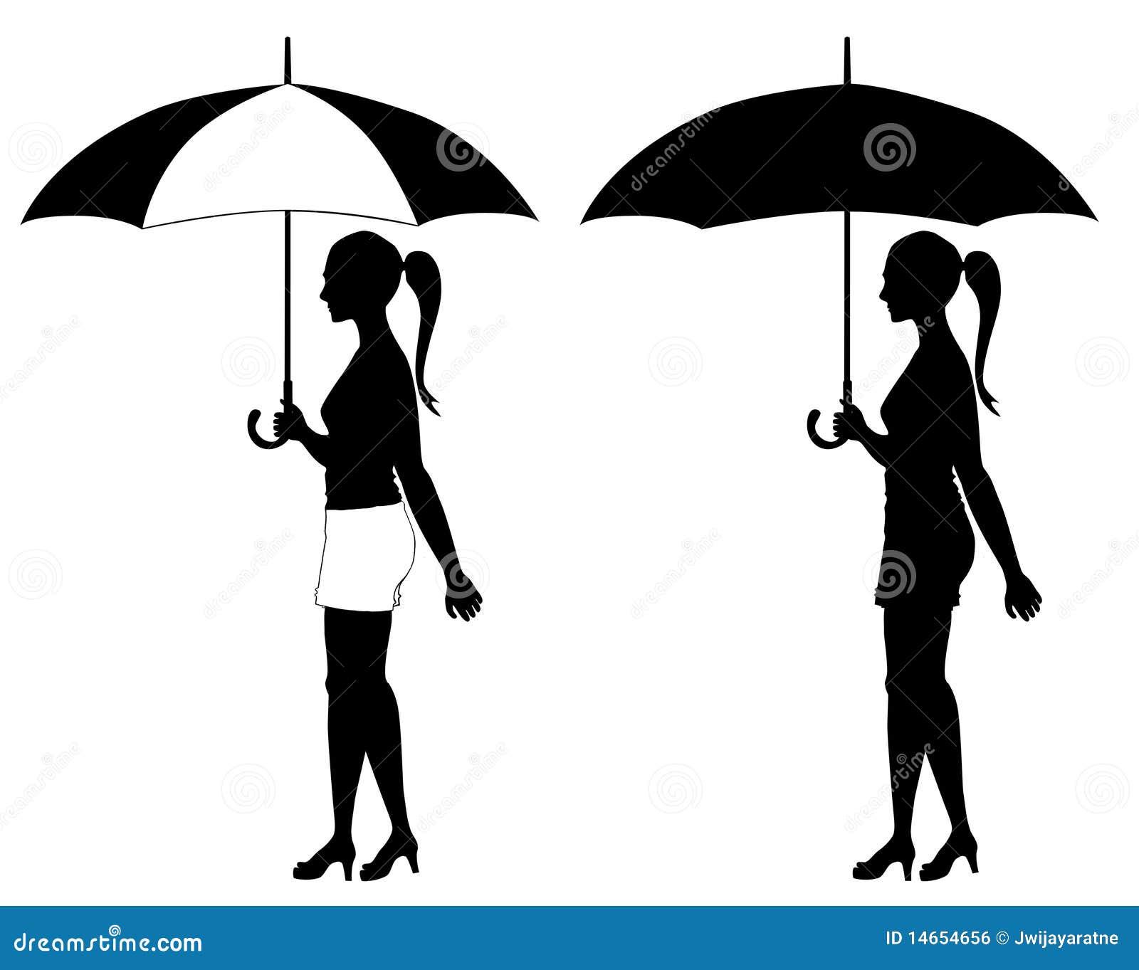 mädchen unter regenschirm vektor abbildung illustration