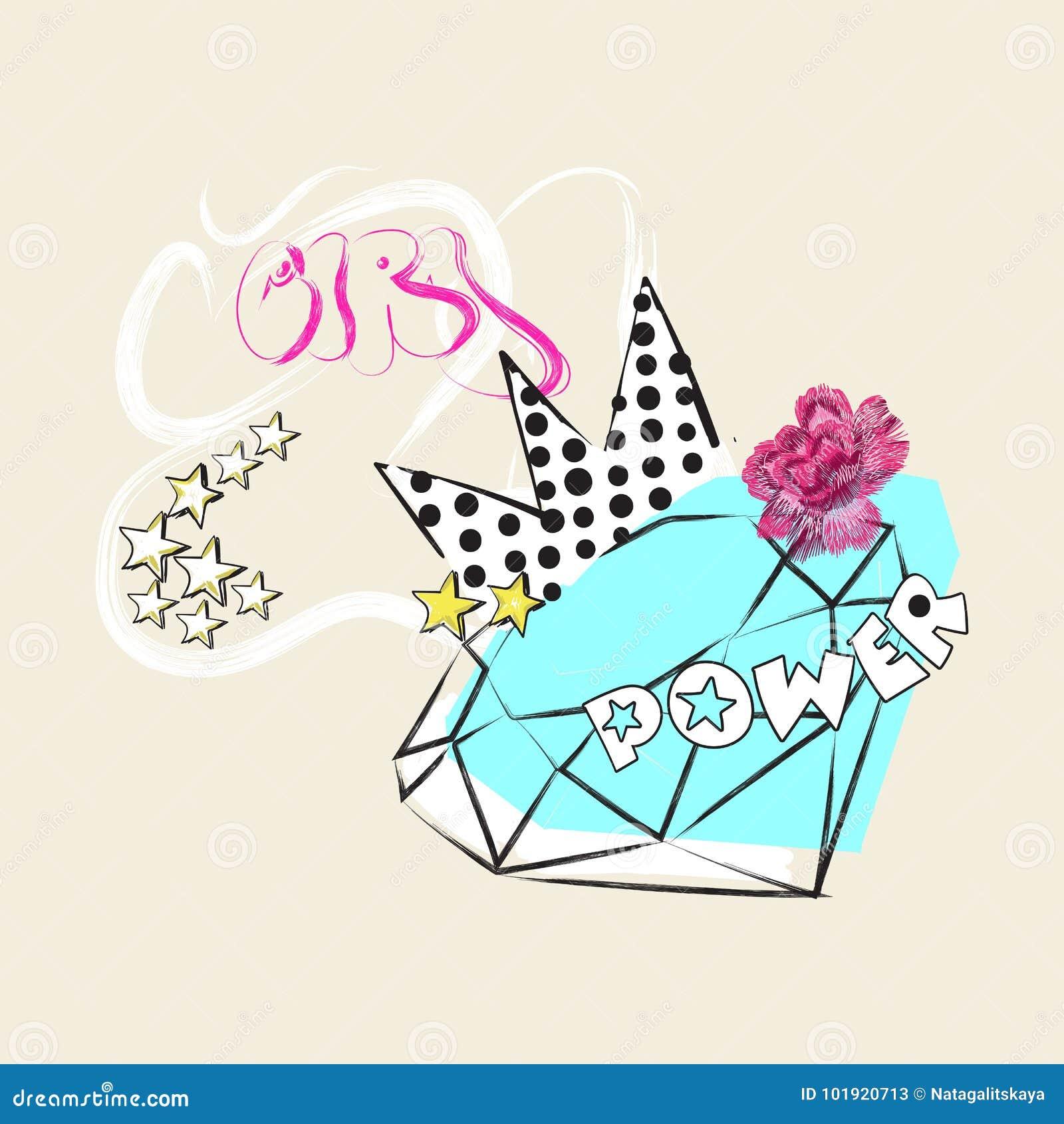 Mädchenenergie Slogan mit Diamanten, Krone und stieg Vector Pop-Arten-Collage für T-Shirt und Druckdesign