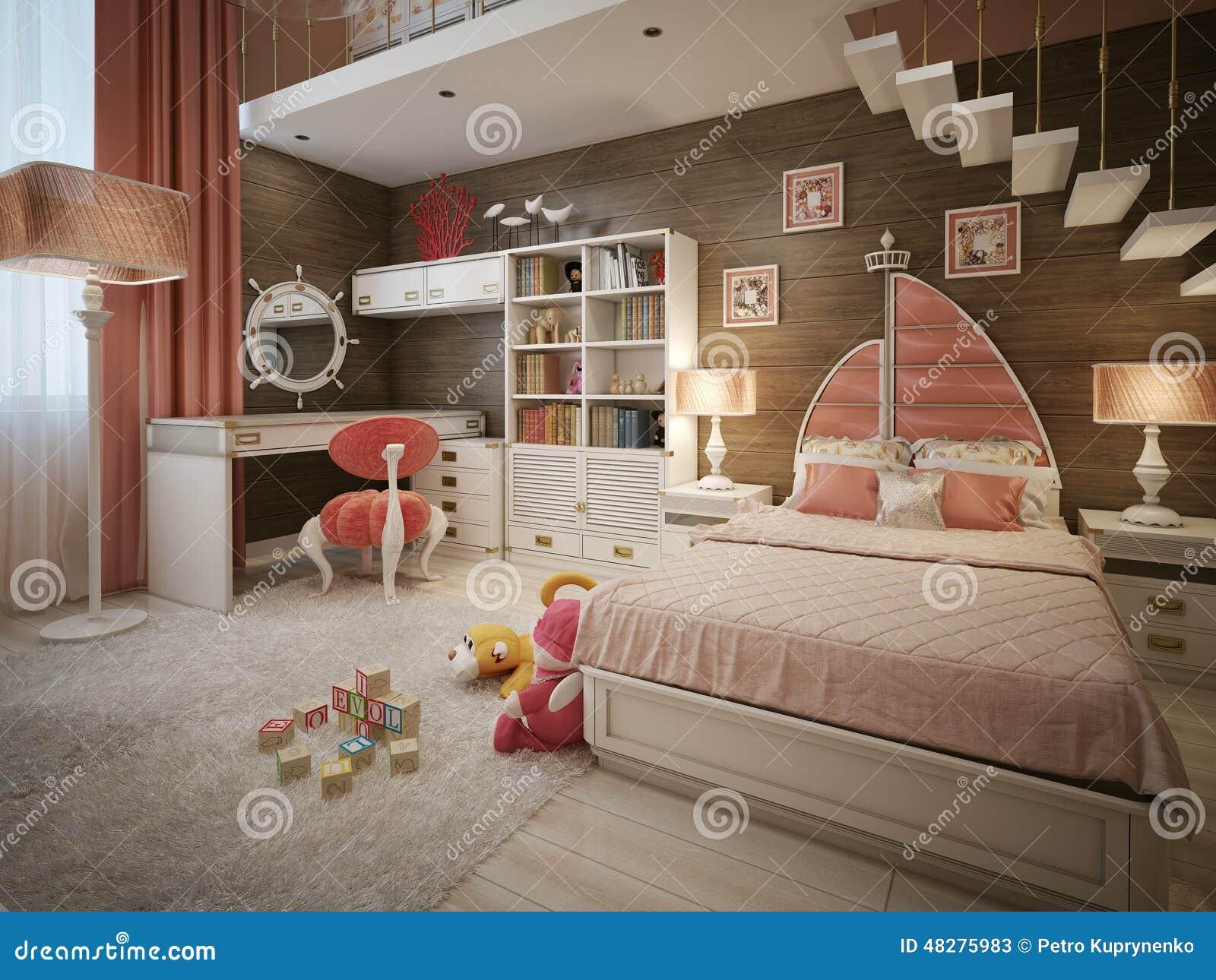 Mädchenschlafzimmer In Der Neoklassischen Art Stock Abbildung ...