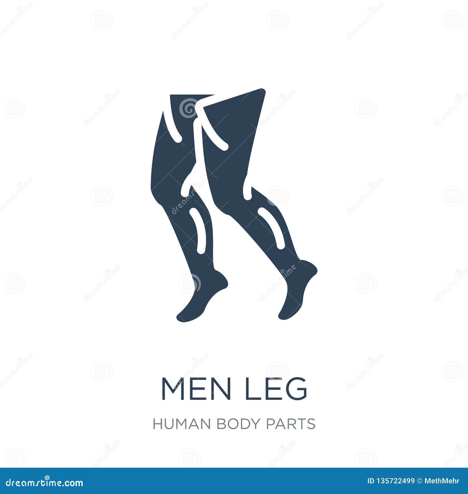 Män lägger benen på ryggen symbolen i moderiktig designstil Manbensymbol som isoleras på vit bakgrund män lägger benen på ryggen
