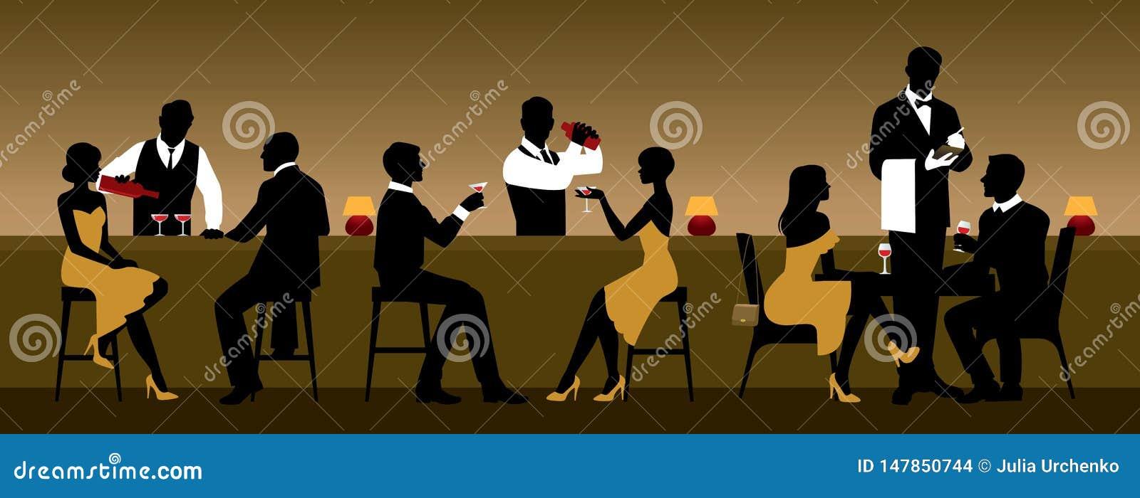 Män och kvinnor vilar i en nattklubb nära stångräknaren