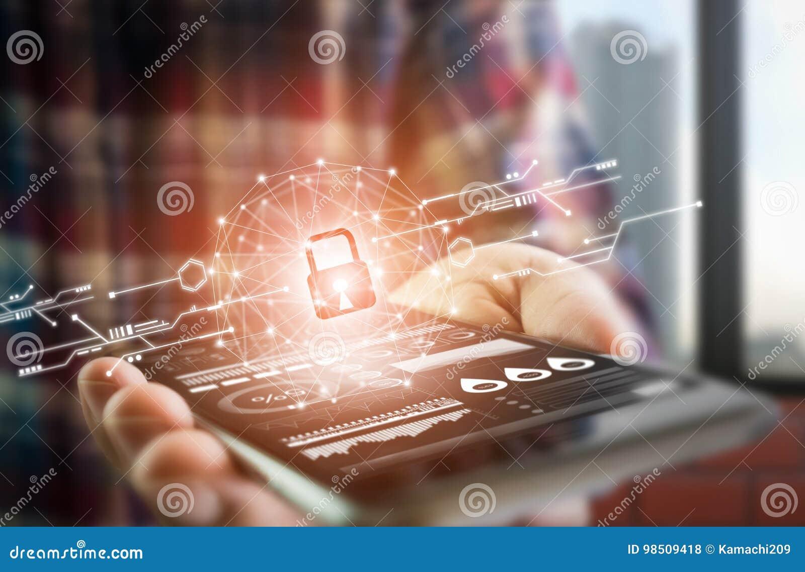 Männer kleiden oben Lebensstilgriff Smartphone-Schirmshows der Schlüssel in der Sicherheitsonlinewelt die Anzeigen- und Technolog