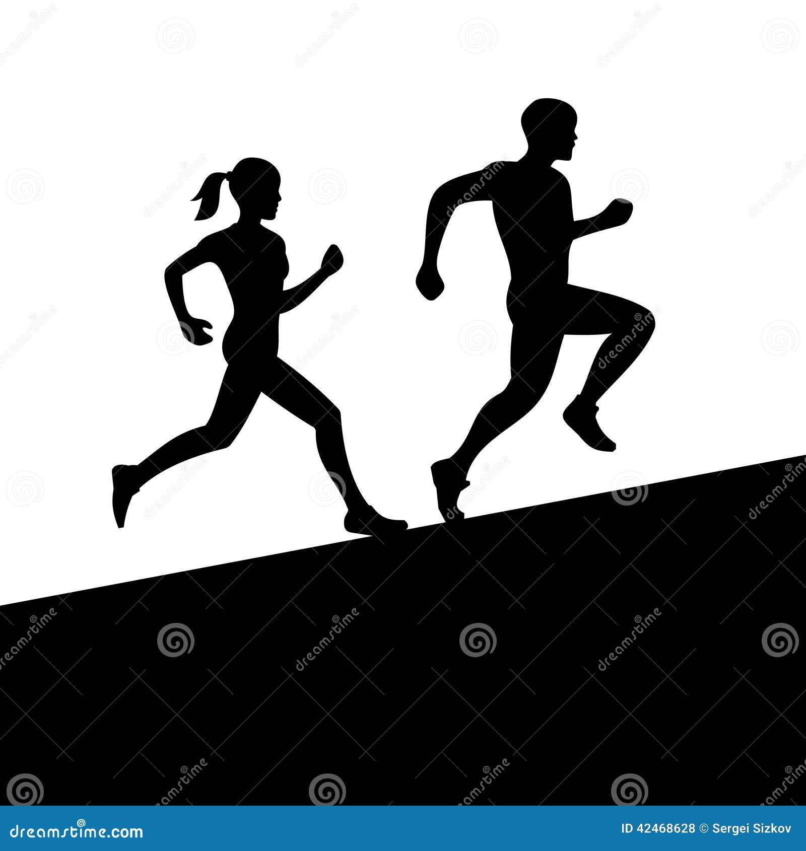 Männer und Frauen, die Schattenbild laufen lassen Vektor