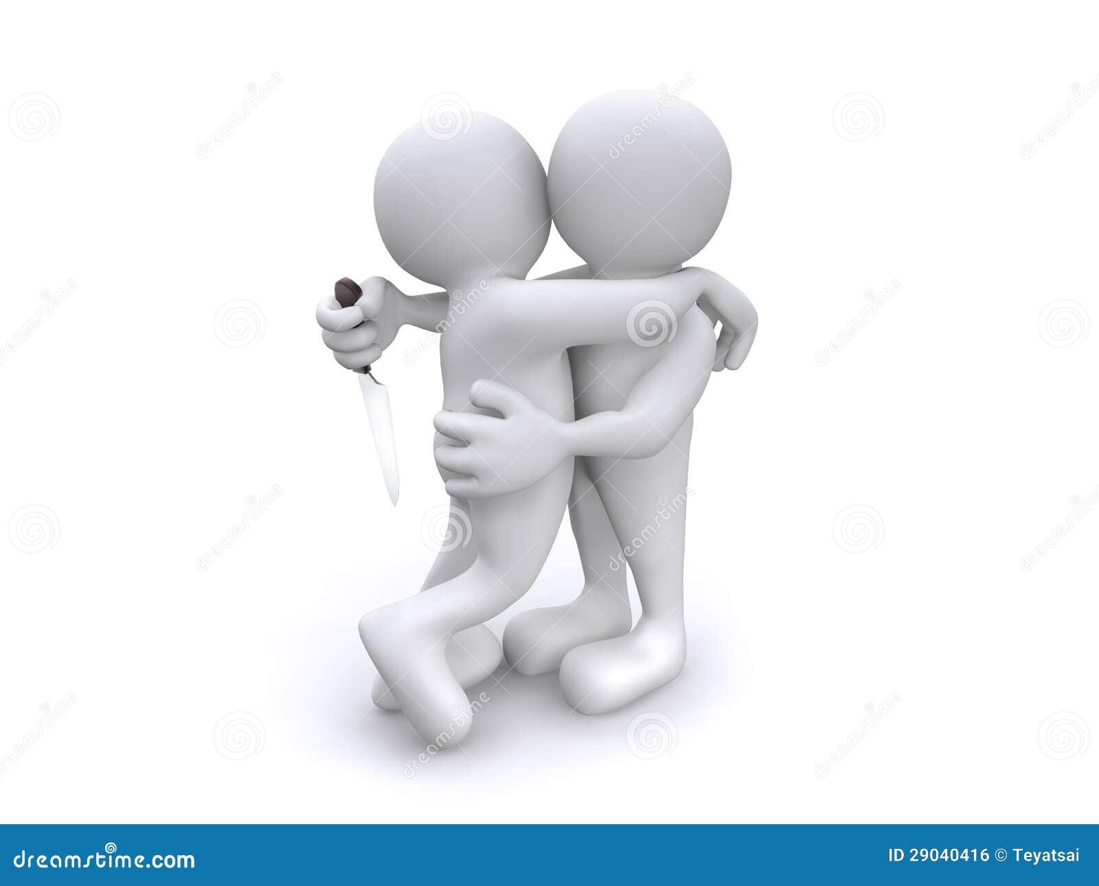 Människa som 3D kramar med mordisk avsikt