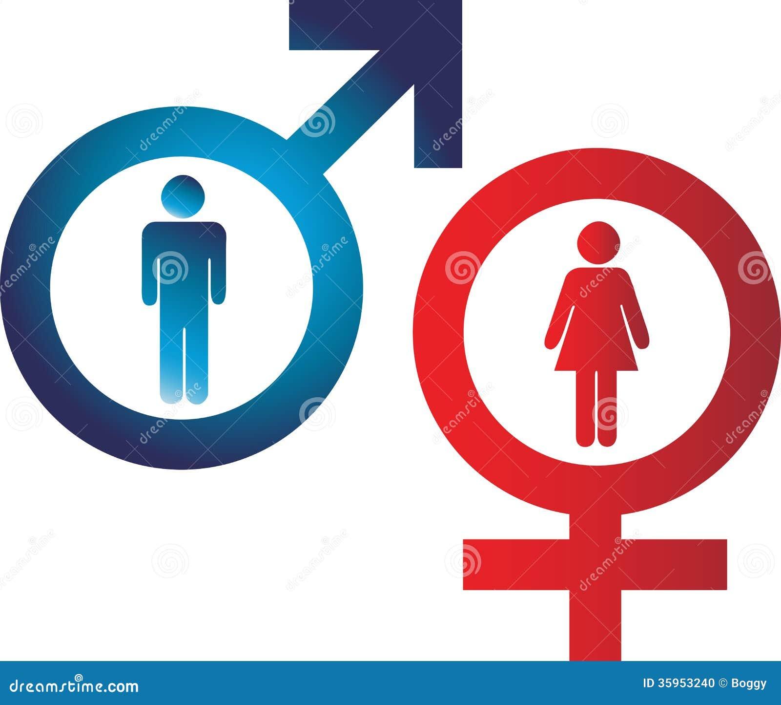 Männlich-weibliche Zeichen vektor abbildung. Illustration